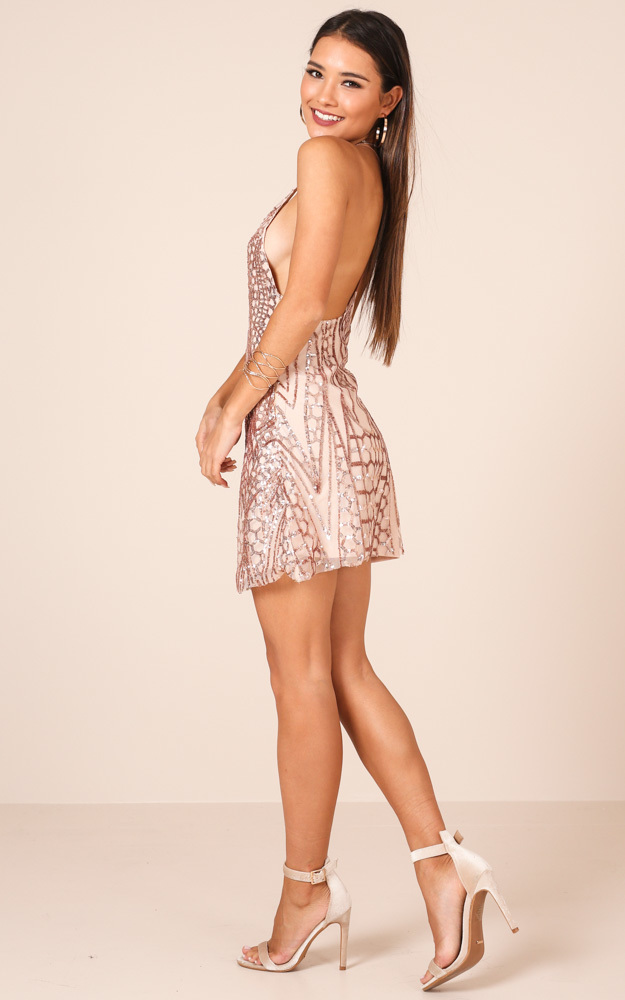 Standing Too Close dress in gold sequin - 14 (XL), Gold, hi-res image number null