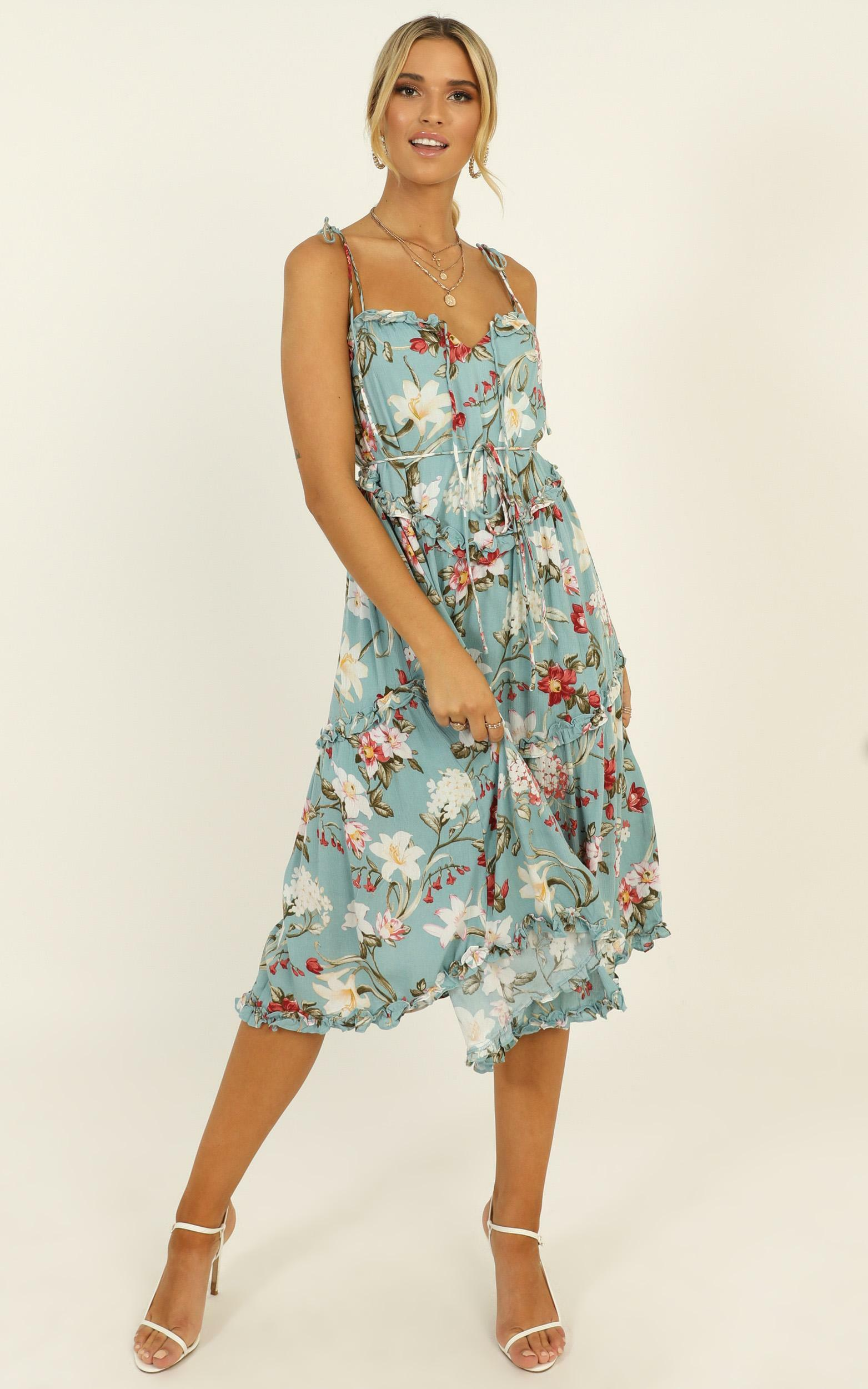 Lost In Yesterday Midi Dress in blue floral - 12 (L), Blue, hi-res image number null