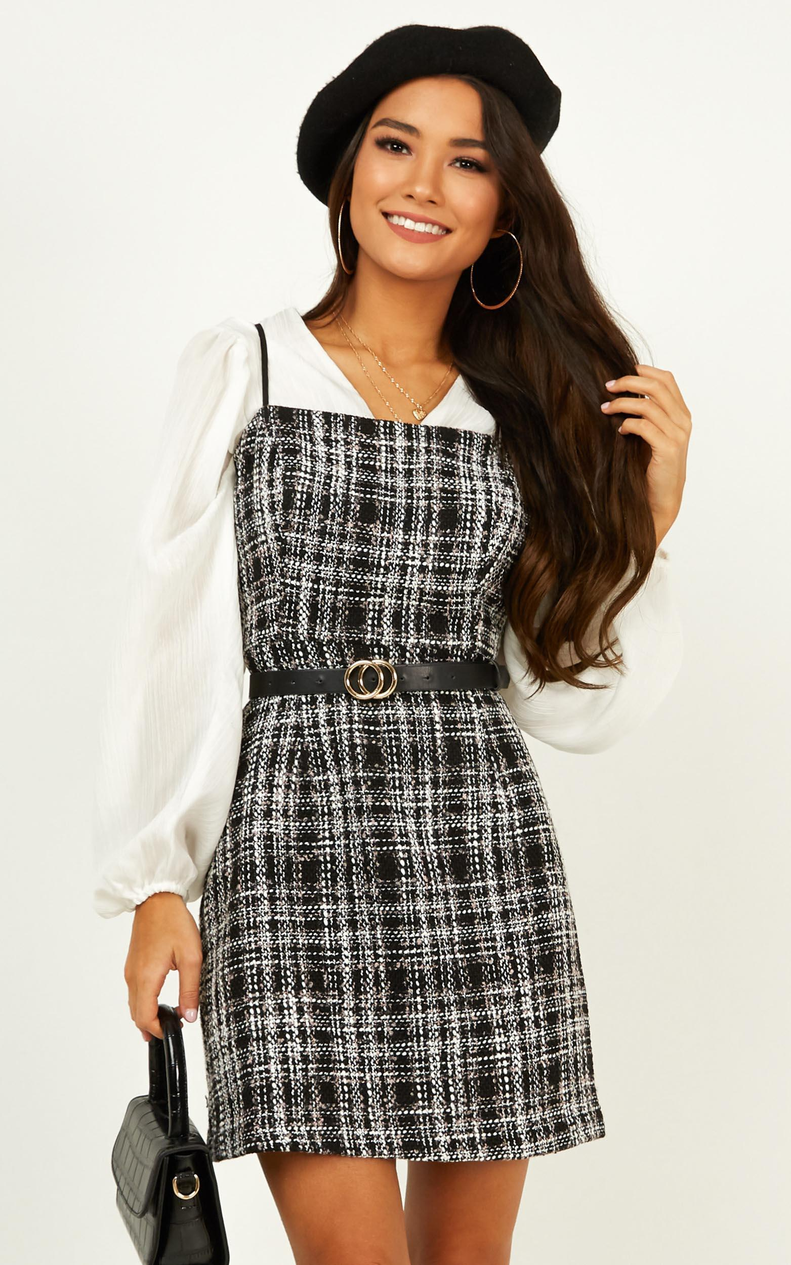 Millionaire Dress in black tweed - 20 (XXXXL), Black, hi-res image number null