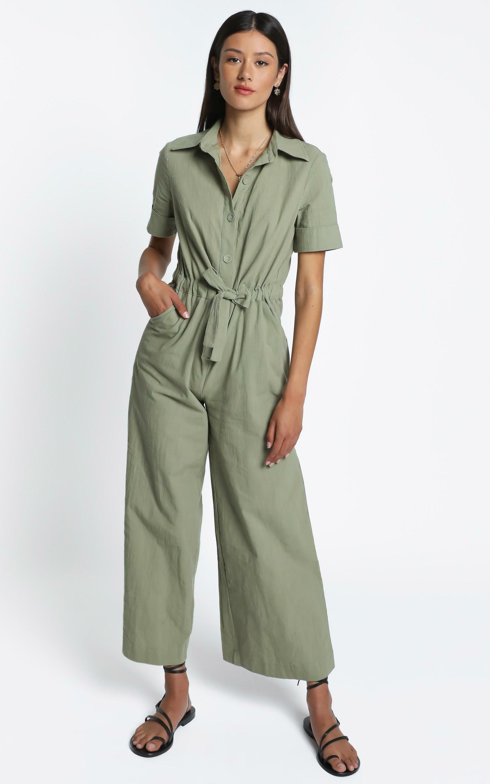 Marinie Jumpsuit in Khaki - 14 (XL), Khaki, hi-res image number null