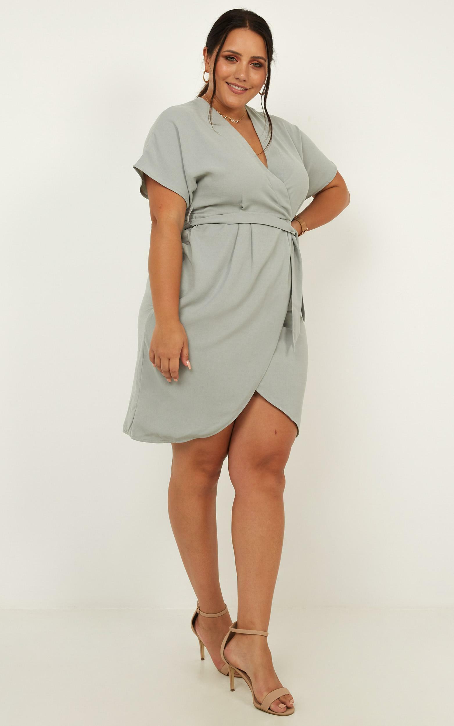 All Shook Up Dress in sage linen look - 20 (XXXXL), Sage, hi-res image number null