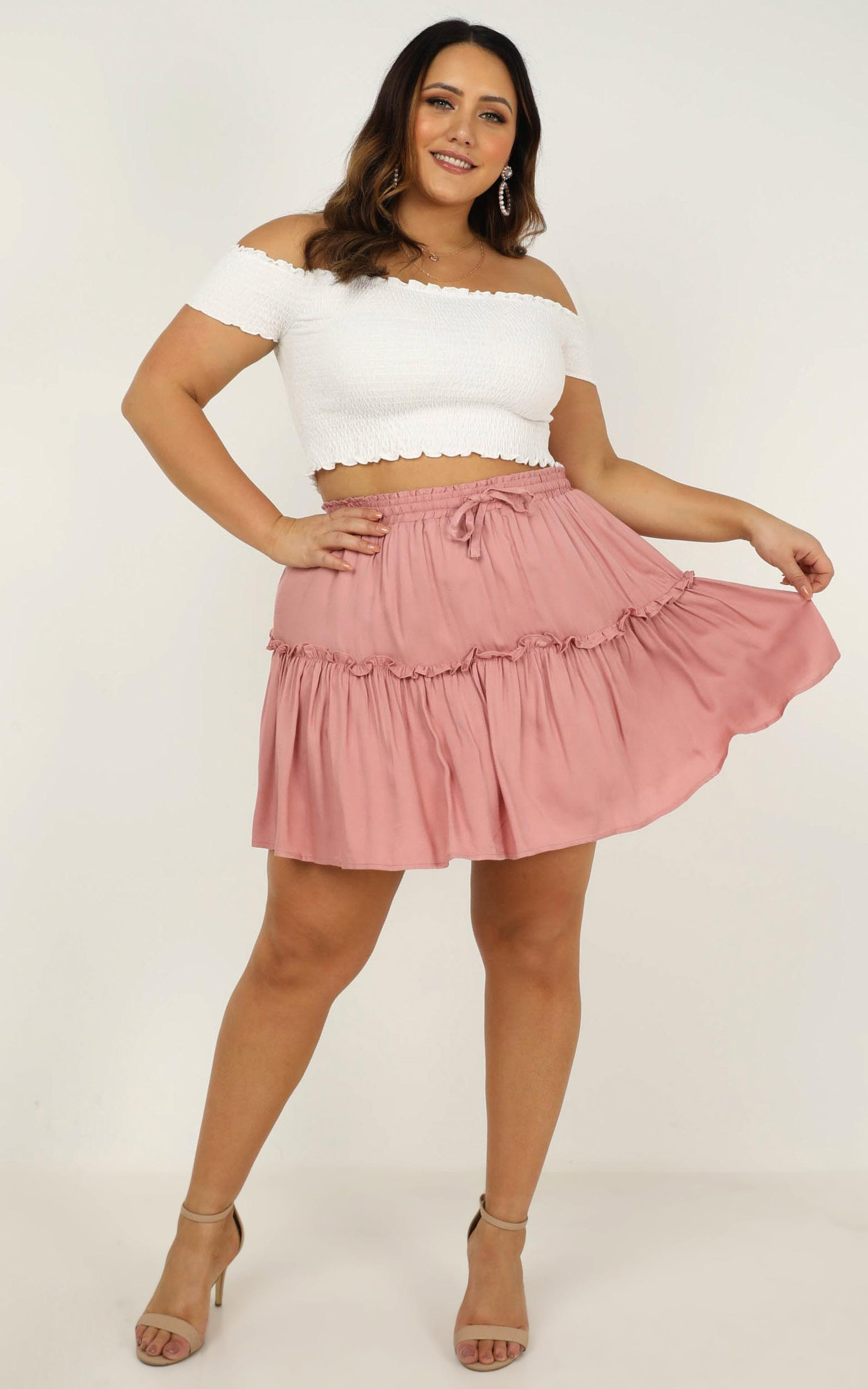 Triple Check Skirt In blush linen look - 20 (XXXXL), Blush, hi-res image number null