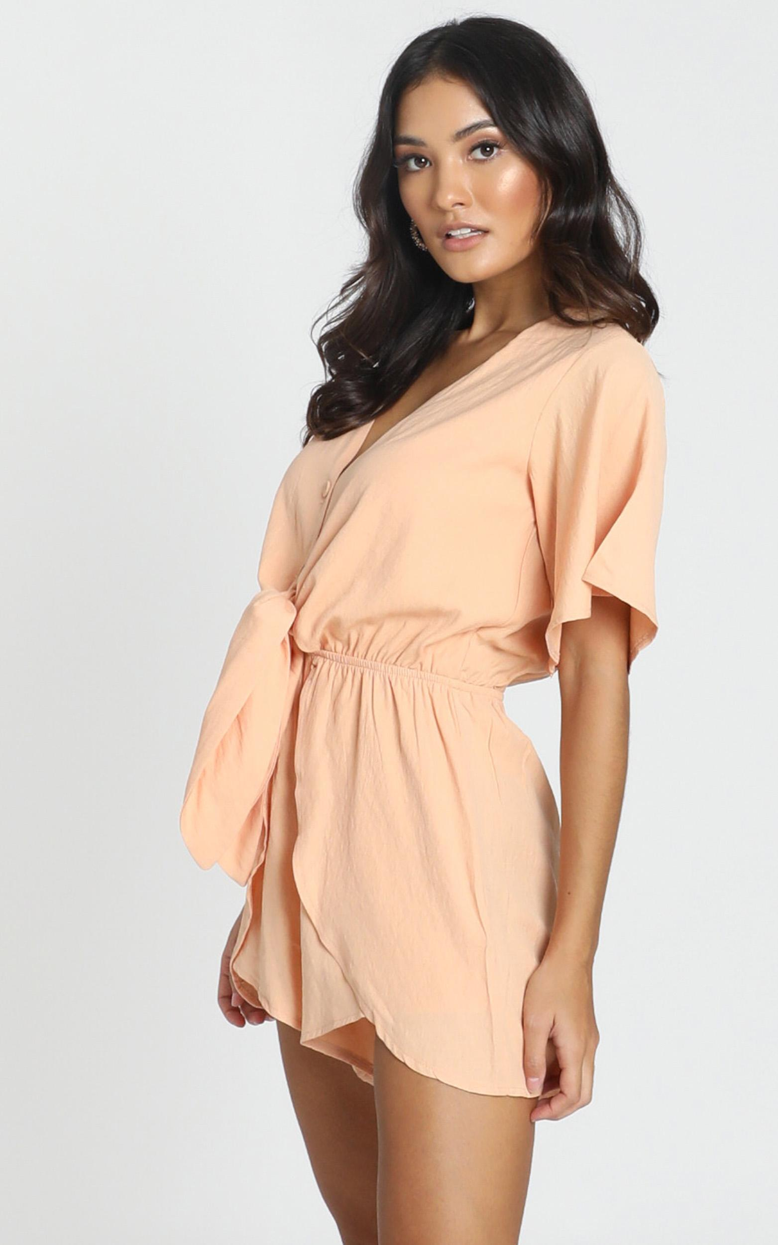 Simone Tie Front Playsuit in apricot - 6 (XS), Orange, hi-res image number null