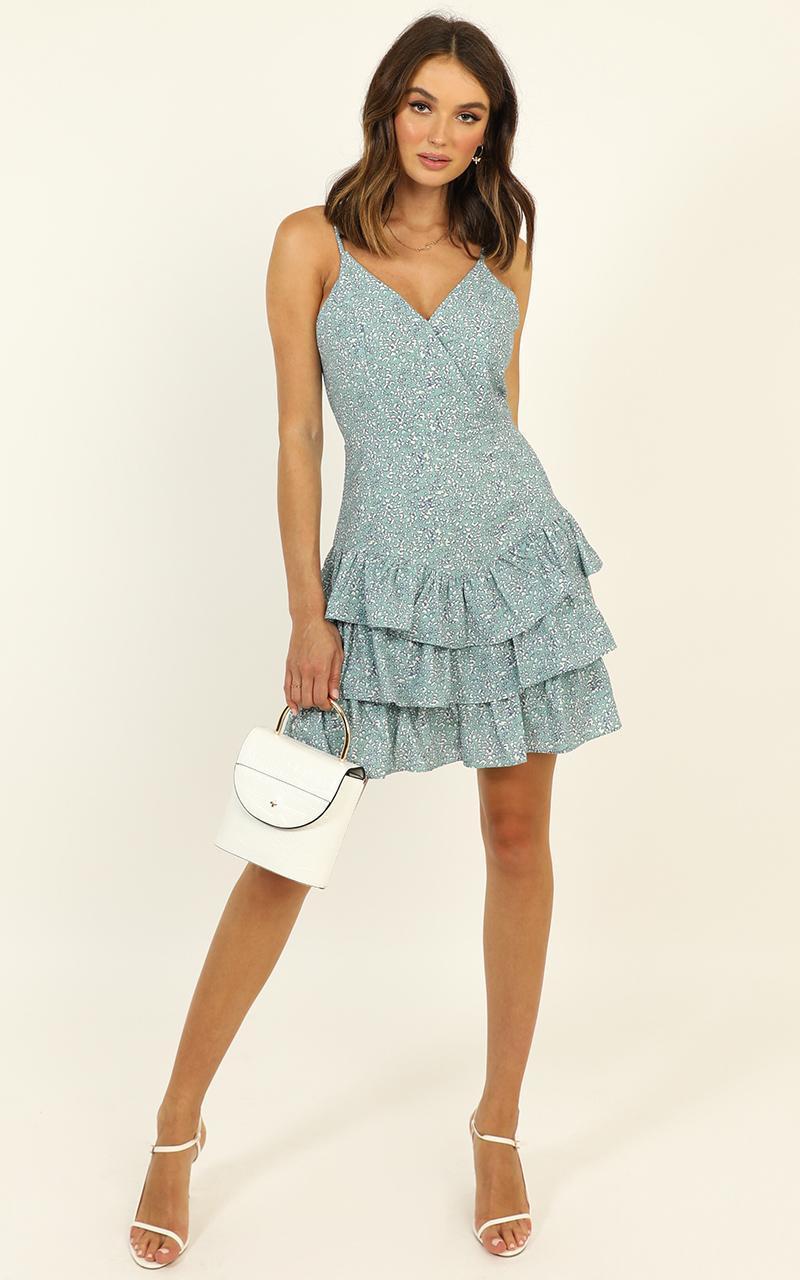 Lead Me Back dress in mint floral - 14 (XL), Blue, hi-res image number null