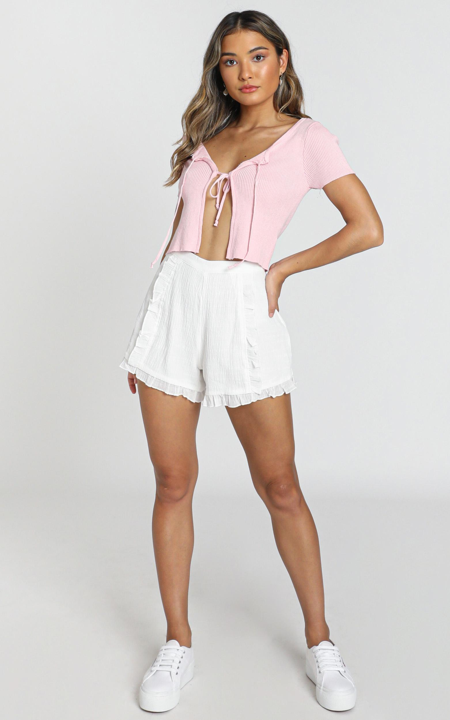 Not Happy For You Shorts in white linen look - 14 (XL), White, hi-res image number null