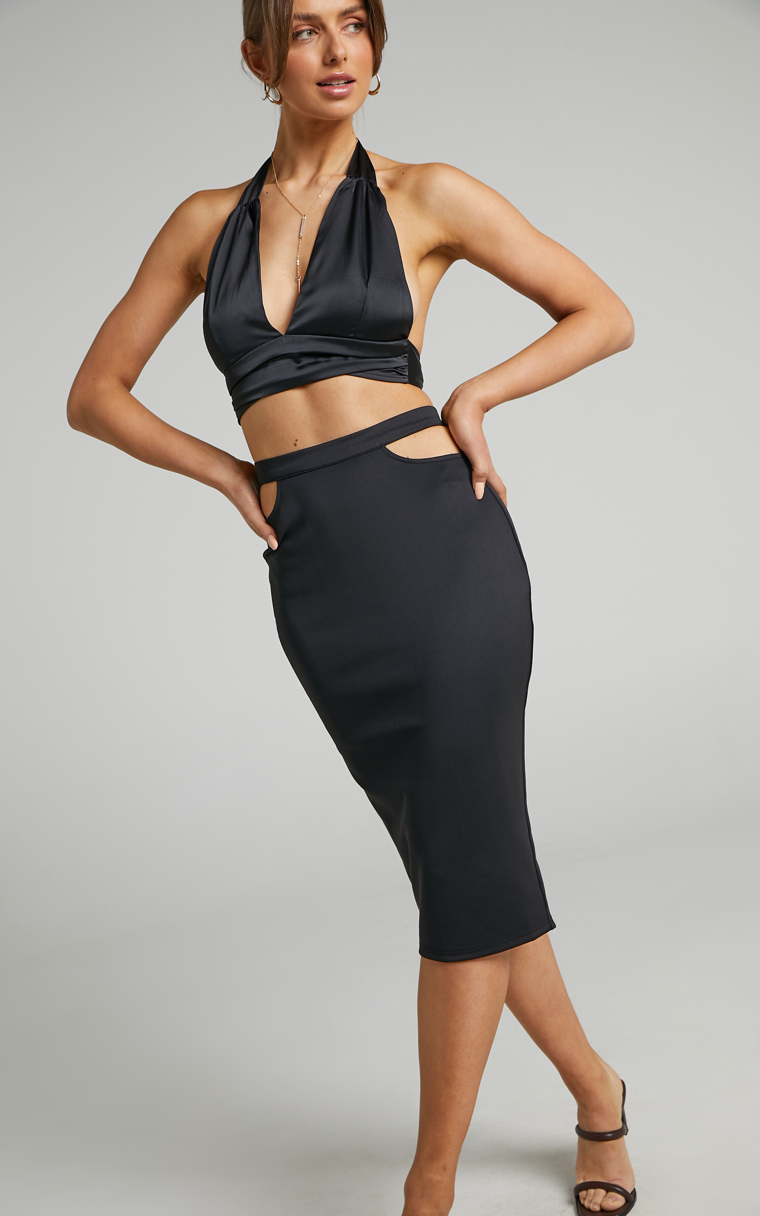 Bevin Waist Cutout Midi Skirt in Black - 06, BLK1, hi-res image number null