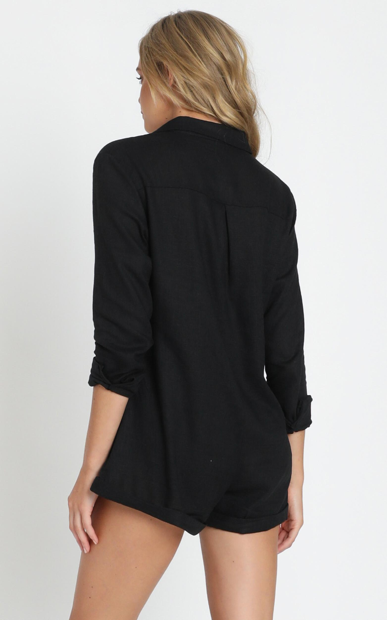 Island Time Playsuit In Black Linen Look - 4 (XXS), Black, hi-res image number null