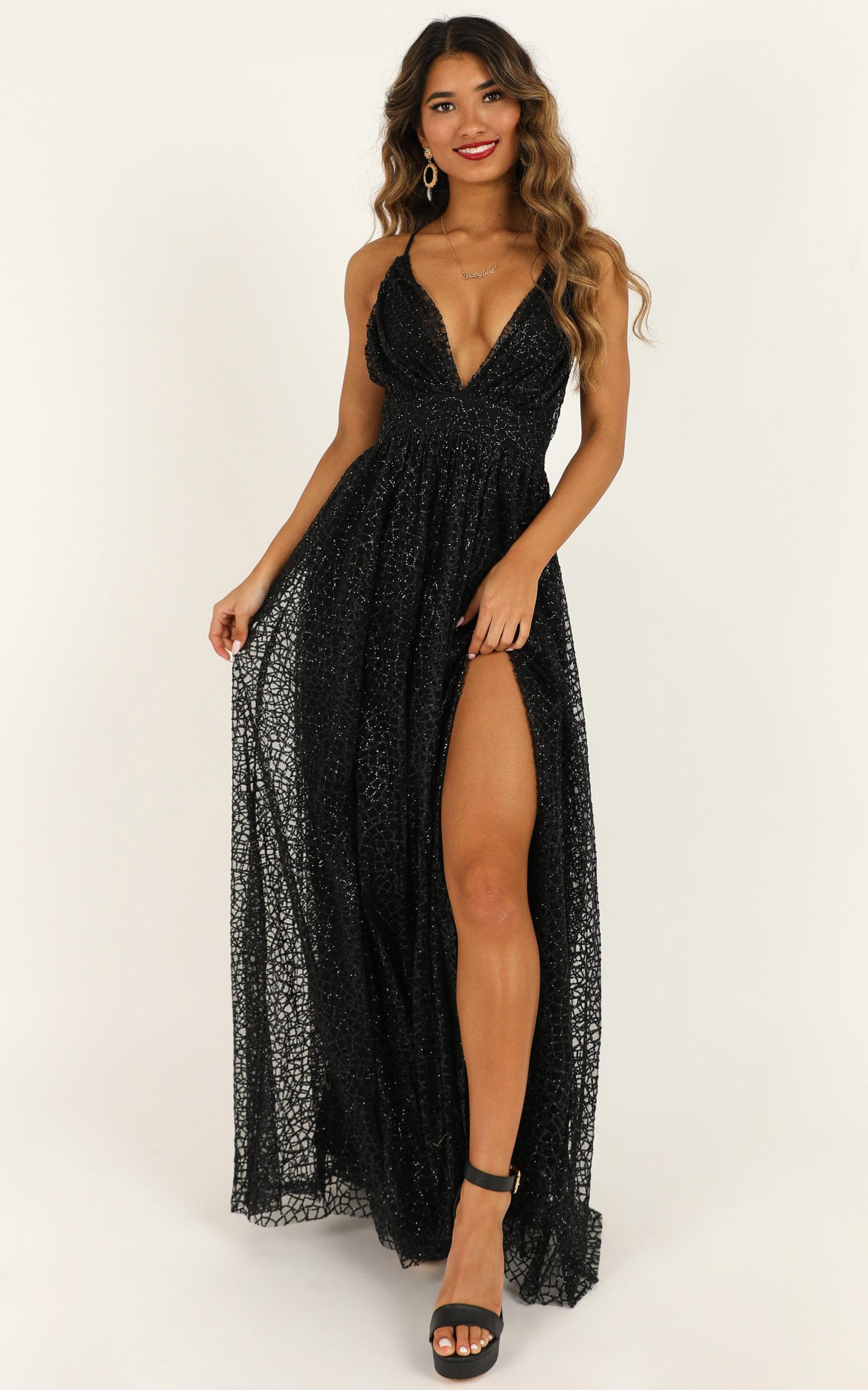 Lady Godiva Dress In Black Glitter - 4 (XXS), Black, hi-res image number null