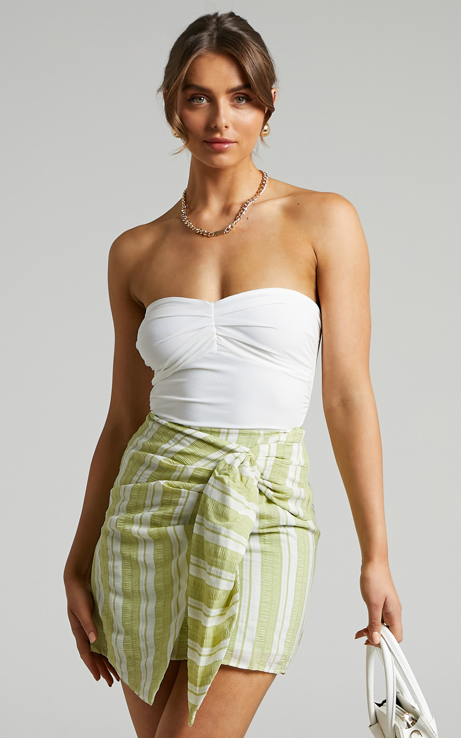 Madison Front Tie Mini Skirt in Green Stripe - 06, GRN1, hi-res image number null