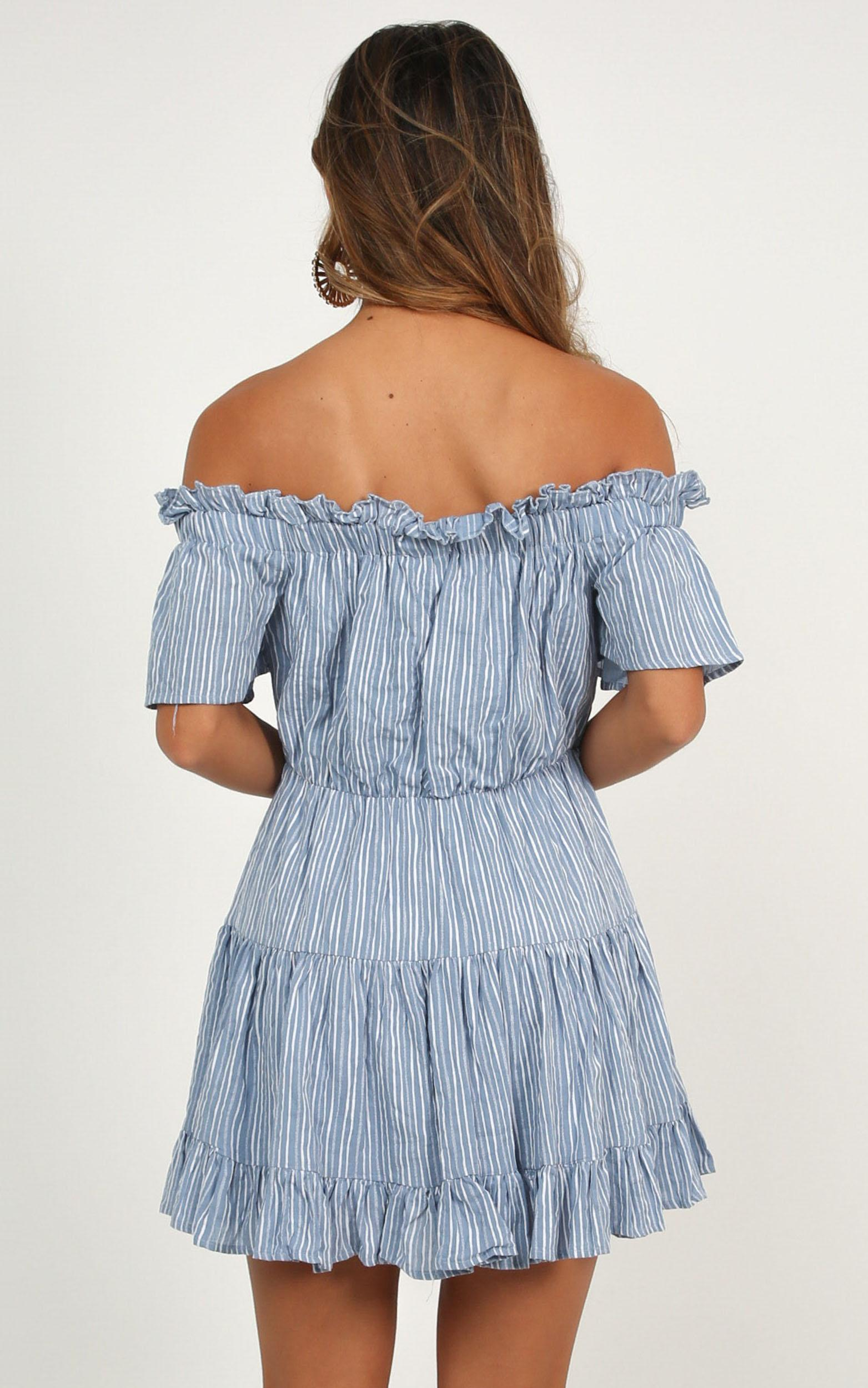Wish Me Lucky Dress in blue stripe - 12 (L), Blue, hi-res image number null