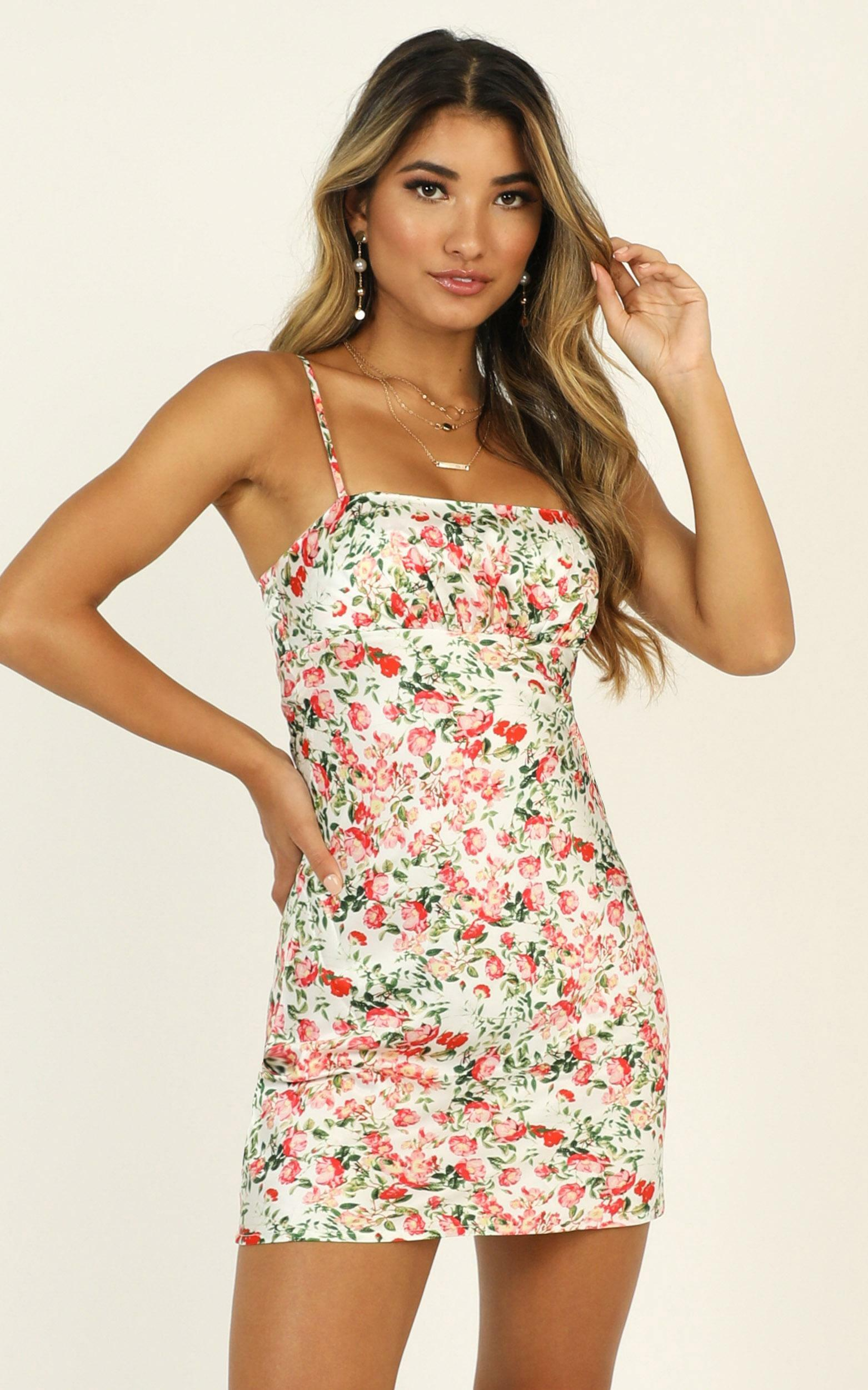 Bold Moves satin dress in multi floral - 16 (XXL), Pink, hi-res image number null