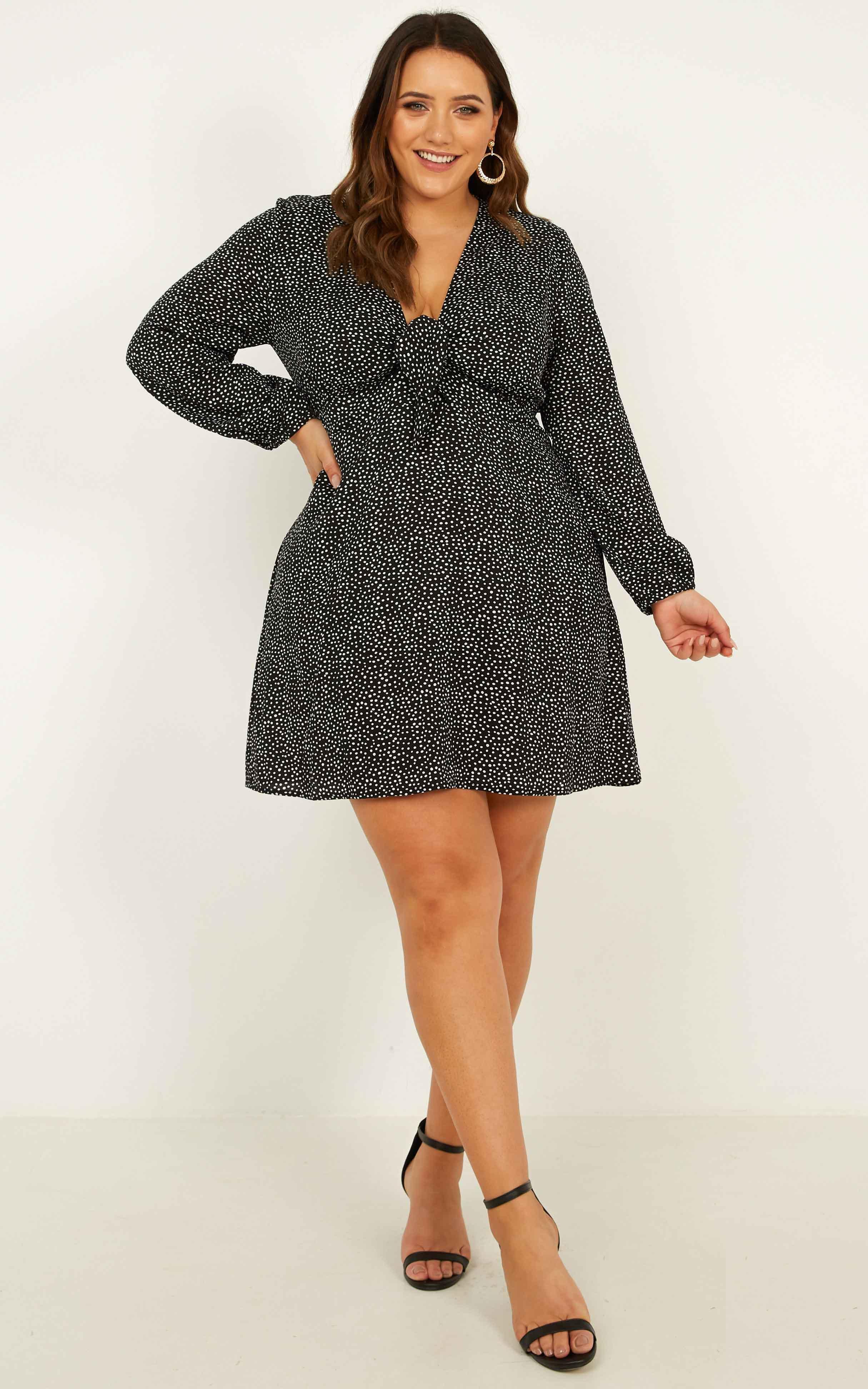 My Heart Girl Dress In black spot - 14 (XL), Black, hi-res image number null