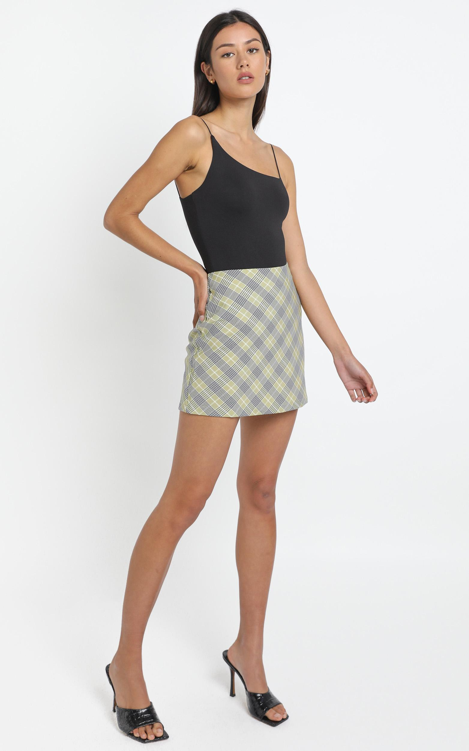 Cyndall Skirt in Sage Check - 12 (L), Sage, hi-res image number null