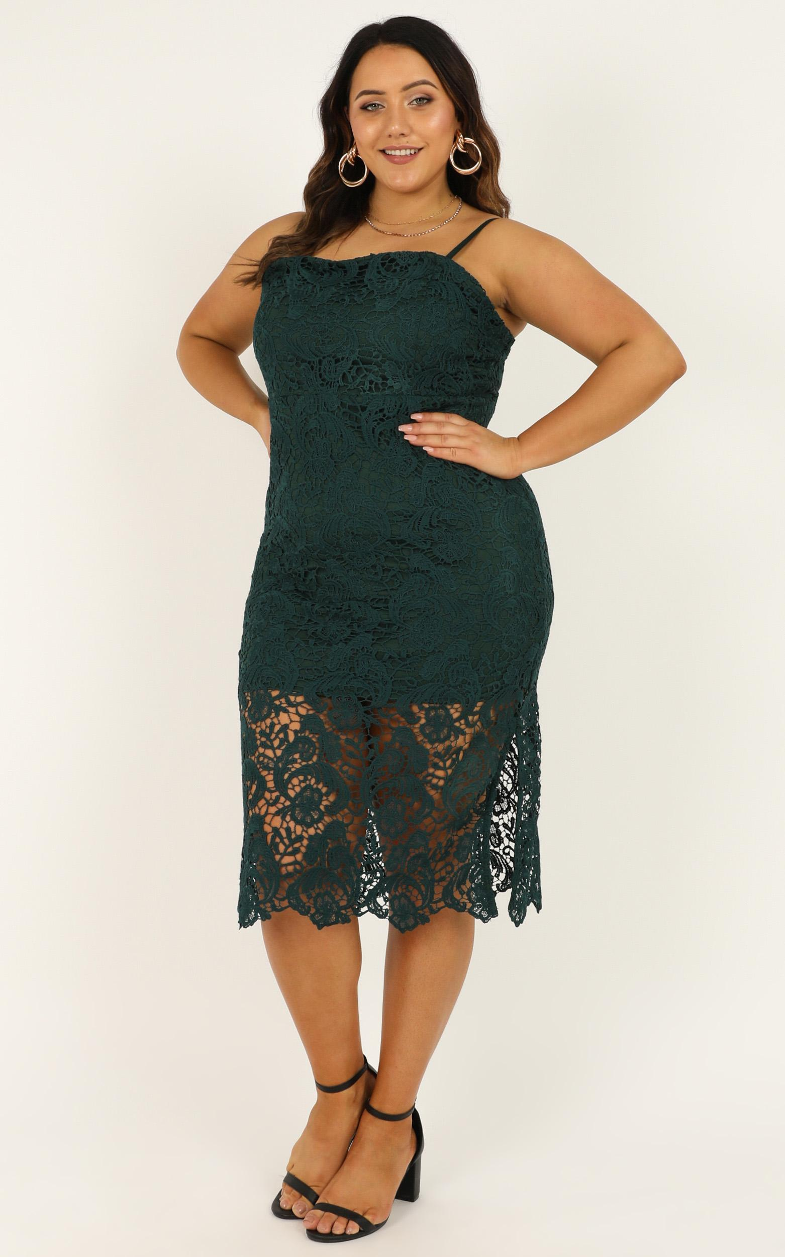 Walk the other way Dress in emerald lace - 20 (XXXXL), Green, hi-res image number null