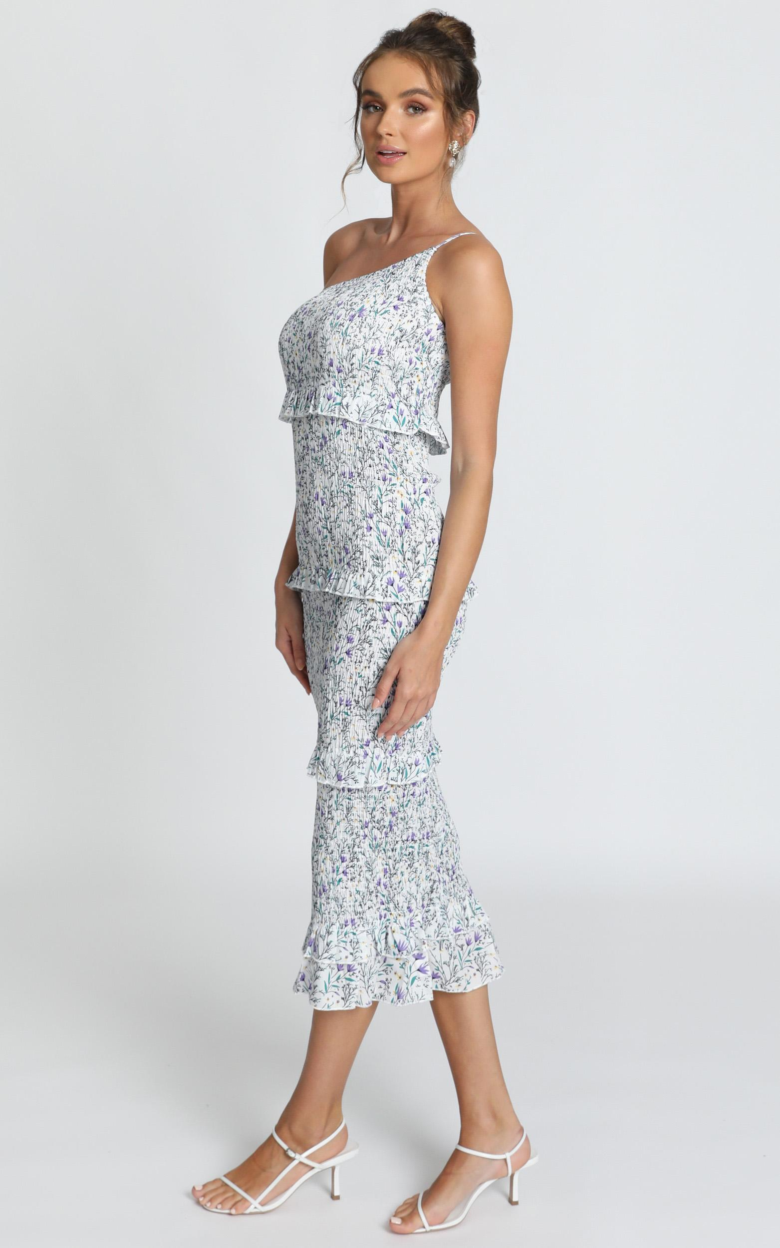 Little More Attention dress in white floral - 12 (L), White, hi-res image number null
