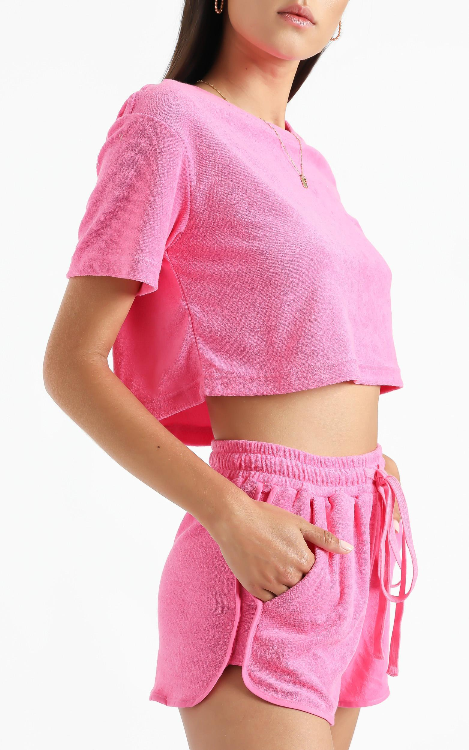 Nori Two Piece Set in Hot Pink Terry Towelling - 6 (XS), PNK11, hi-res image number null