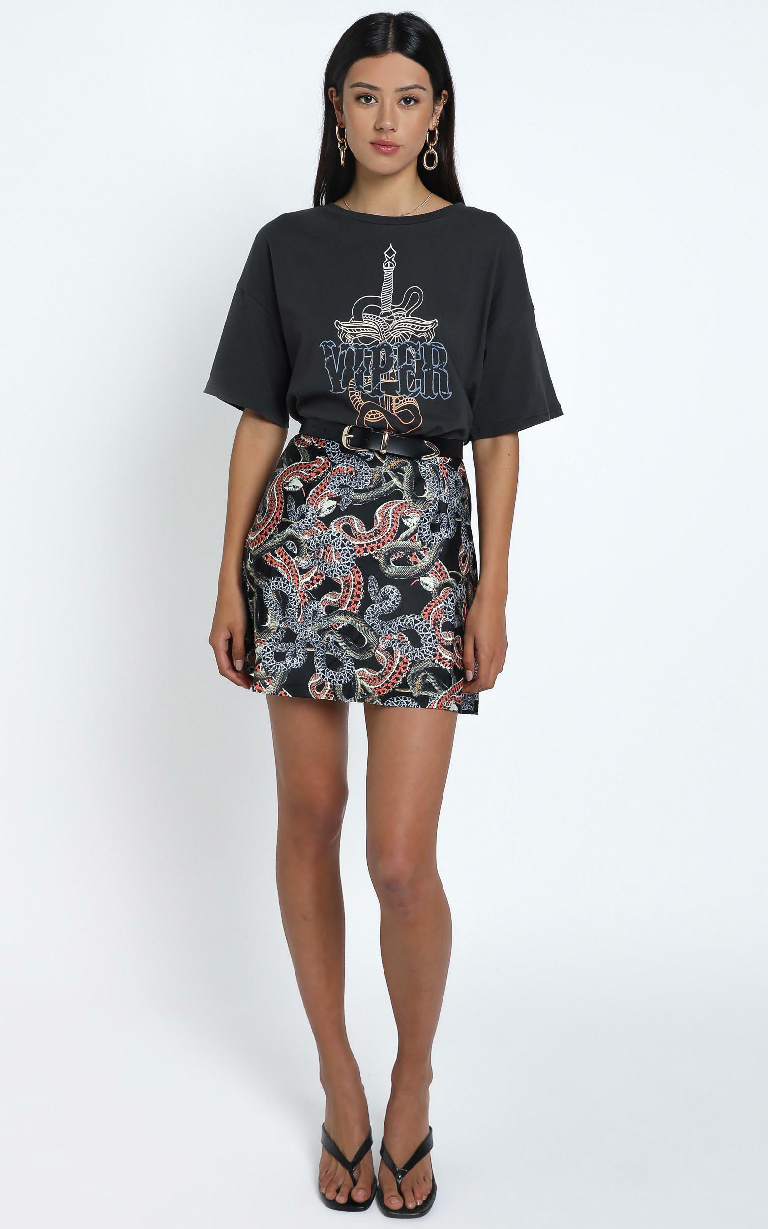 Twiin - Snakes Alive Mini Slip Skirt in Multi - 12 (L), BLK1, hi-res image number null