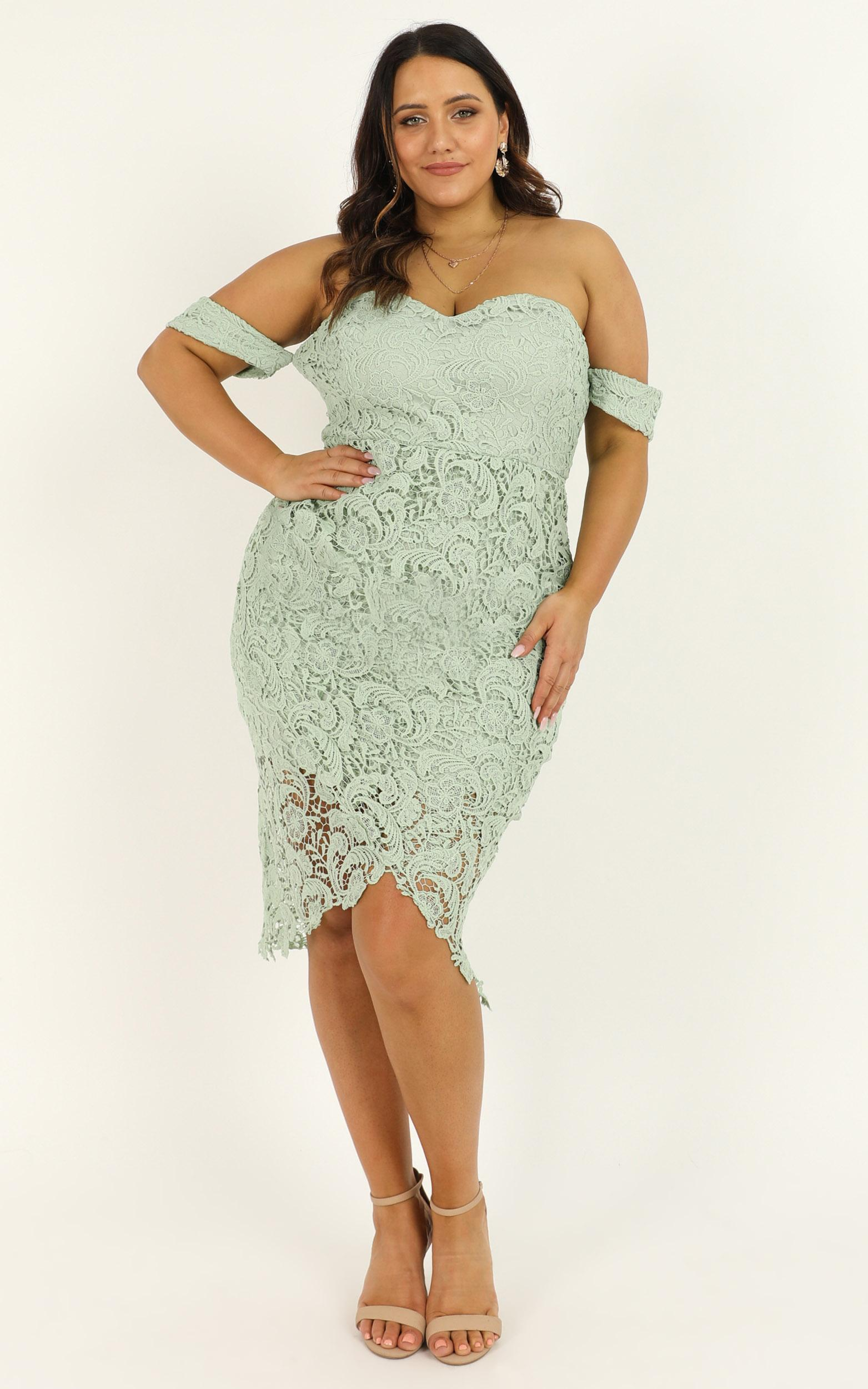 Try It Out Dress in sage lace - 20 (XXXXL), Sage, hi-res image number null