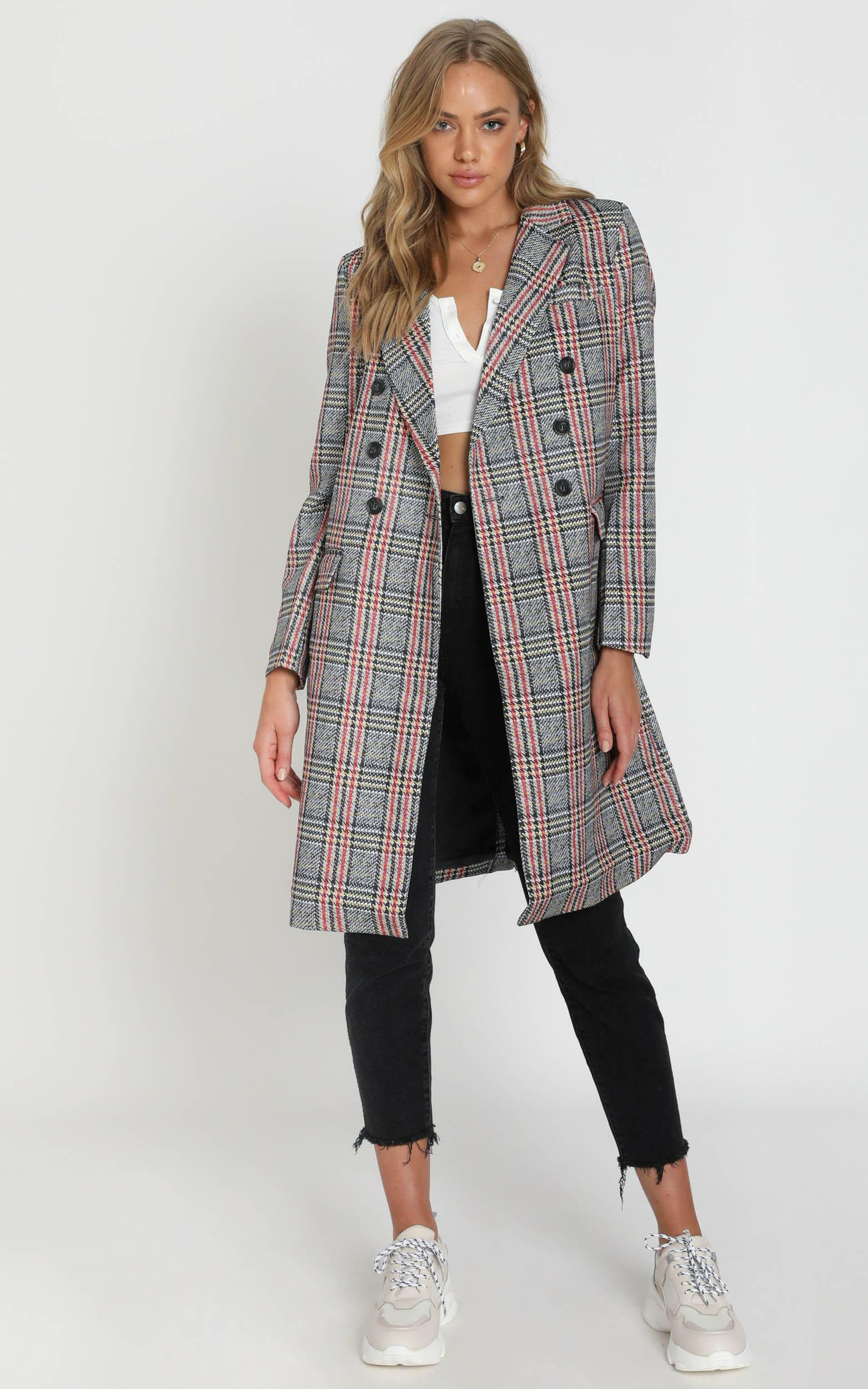 Pernille Checked Coat in grey check - S, Grey, hi-res image number null