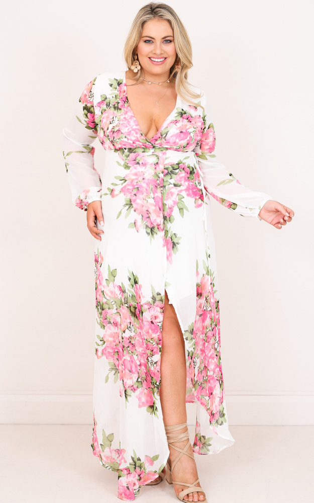 Autumn Falls maxi dress in white floral - 6 (XS), WHT1, hi-res image number null