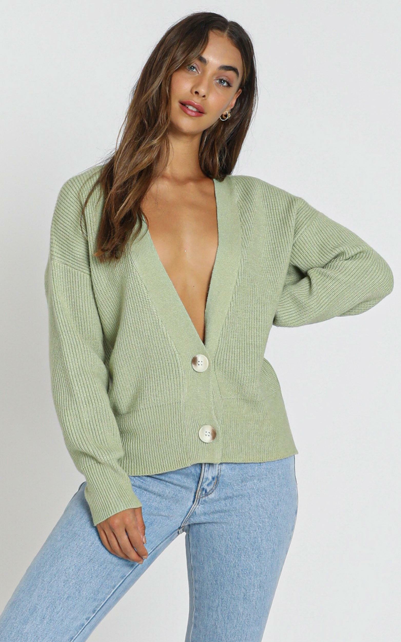 Original Trendsetter Knit Cardigan in Pistachio - S/M, Green, hi-res image number null
