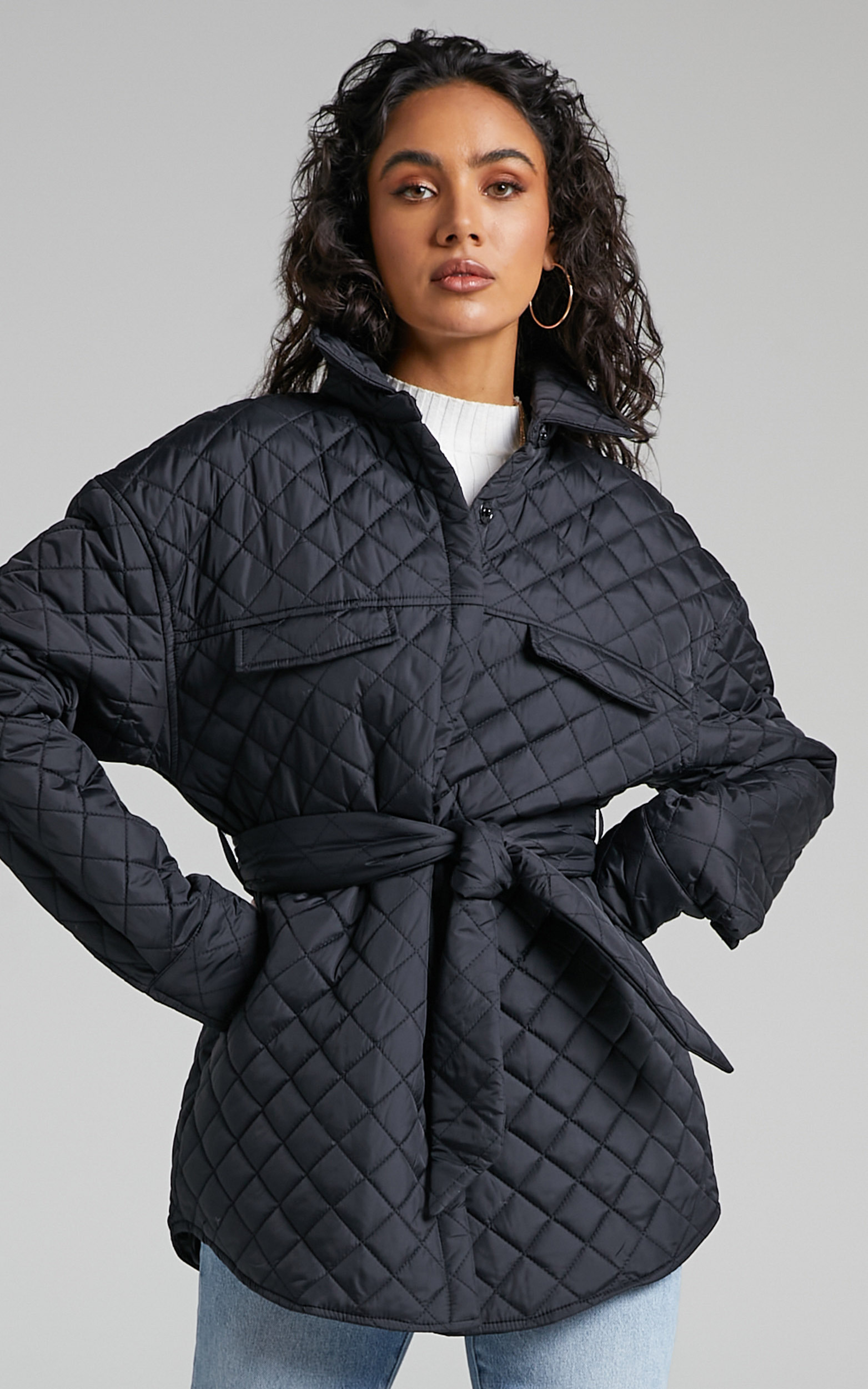 Adanna Quilted Button Up Jacket in Black - 06, BLK1, hi-res image number null