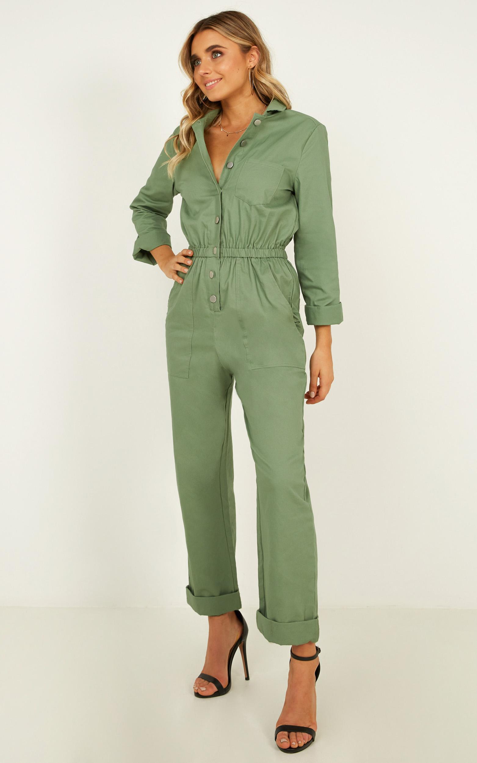 Fully Prepared jumpsuit in sage - 12 (L), Sage, hi-res image number null