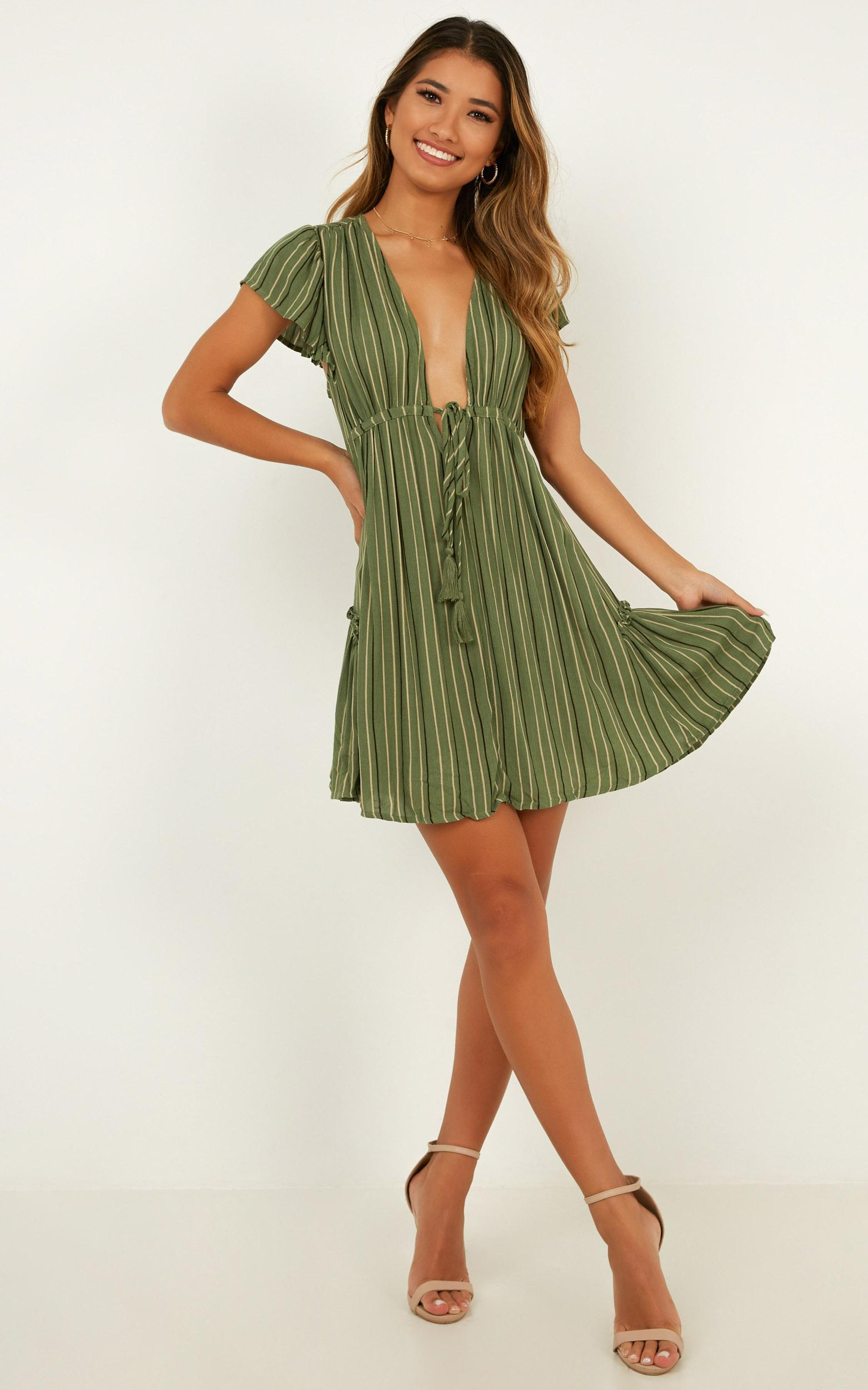 Four Leaf Clover dress in khaki stripe - 12 (L), Khaki, hi-res image number null