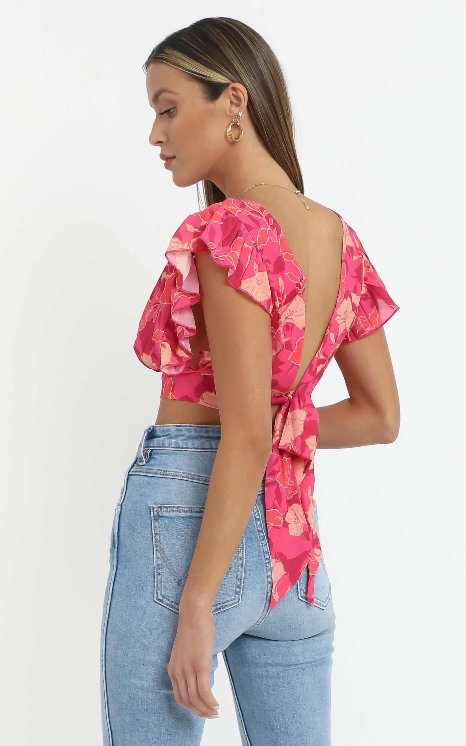 Lets Mingle Top in Berry Floral - 14 (XL), PNK13, hi-res image number null