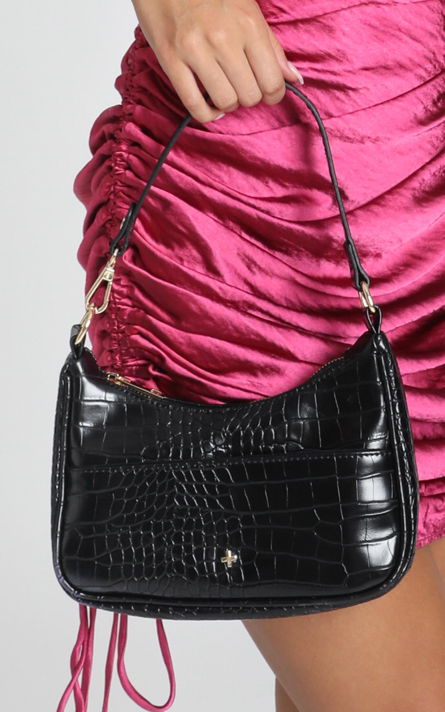 Peta and Jain - Tal Bag in Black Croc, BLK8, hi-res image number null