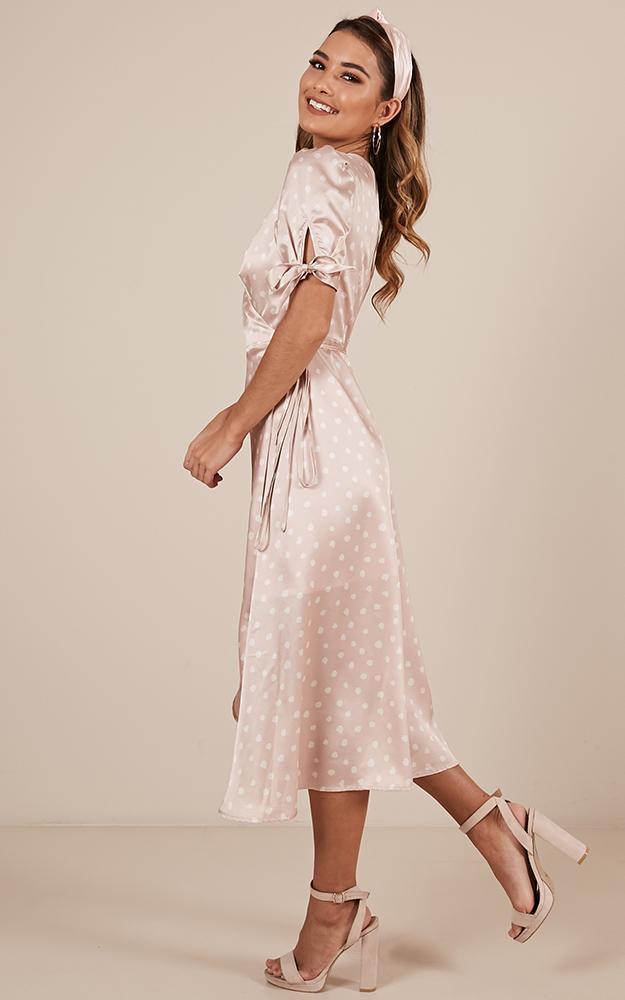 Golden Rule Dress in blush spot satin - 12 (L), Blush, hi-res image number null