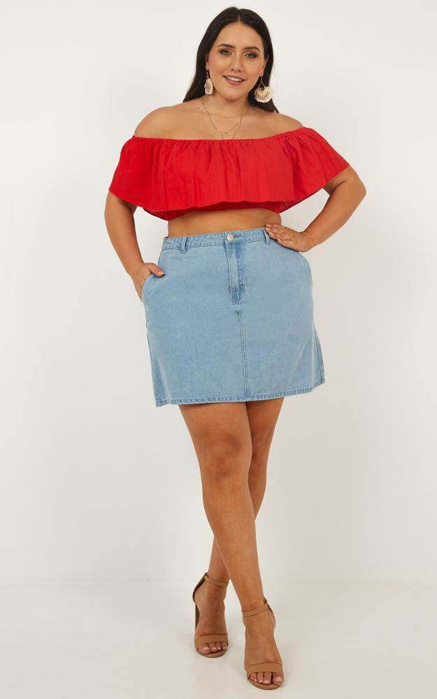 Flouncing Top in red linen look - 14 (XL), Red, hi-res image number null