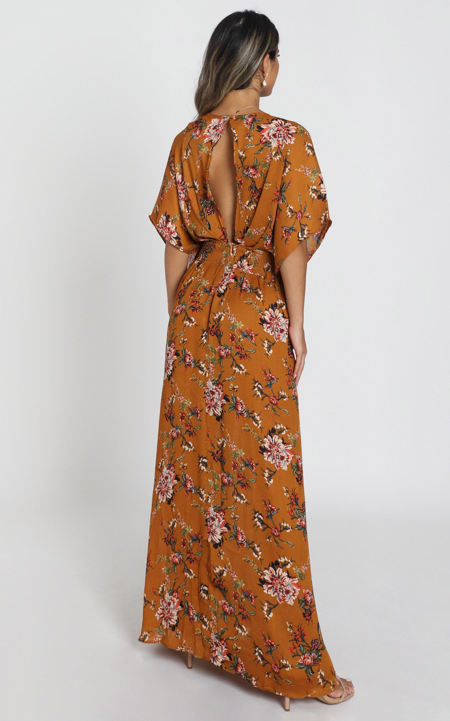 Vacay Ready Maxi Dress In Mustard Floral - 4 (XXS), YEL1, hi-res image number null