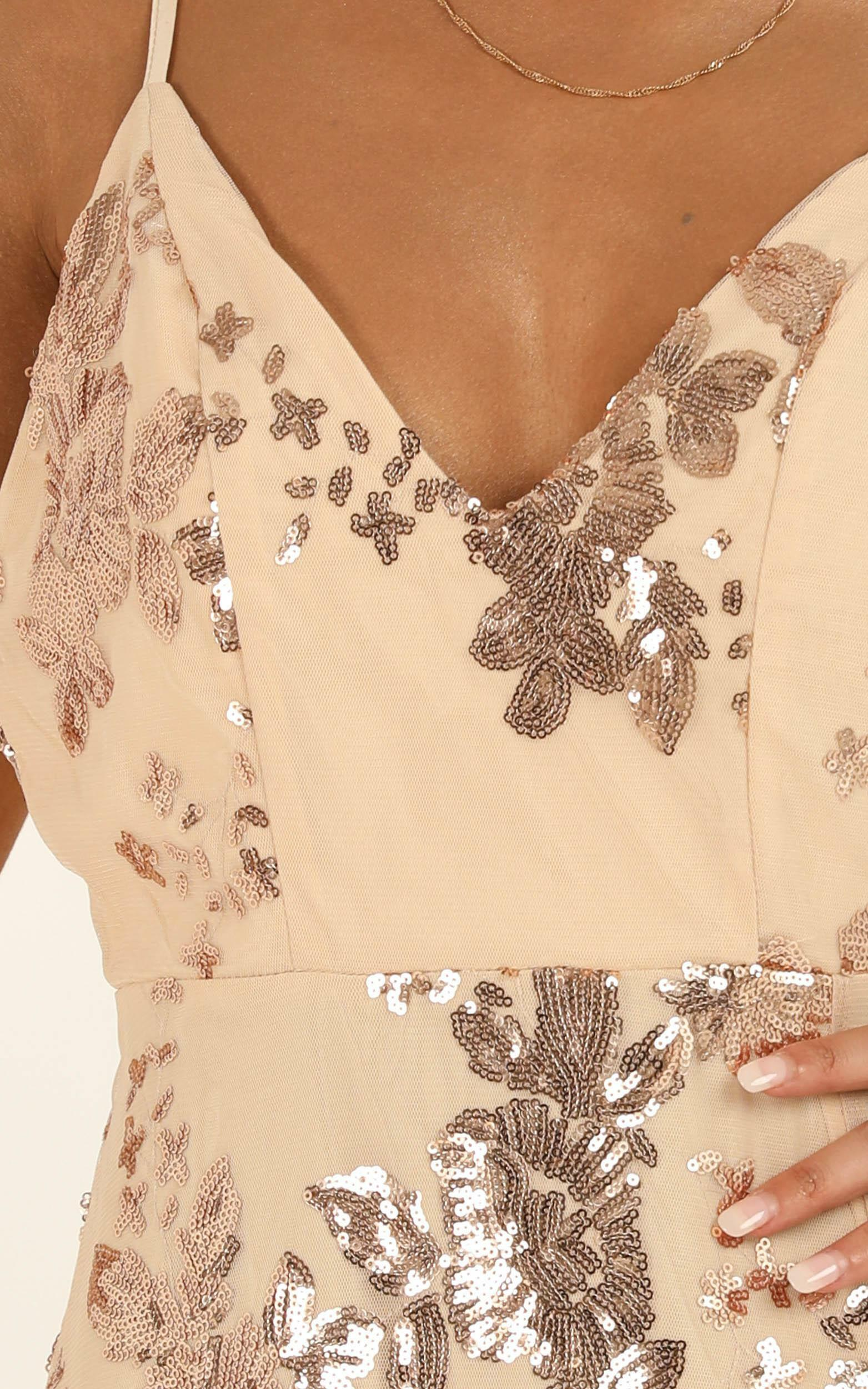Know About You dress in rose gold sequin - 14 (XL), Rose Gold, hi-res image number null
