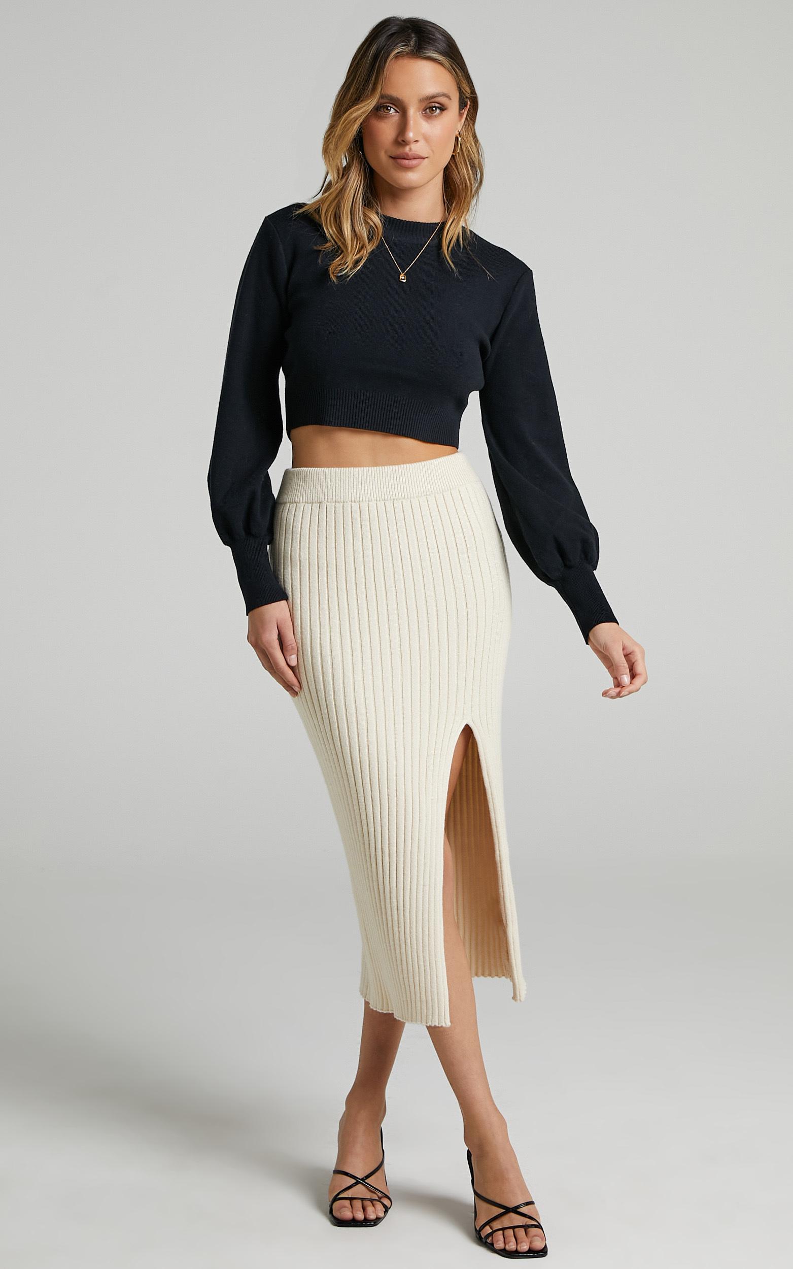 Rib Knit Midi Skirt with split in Beige - 04, BRN1, hi-res image number null