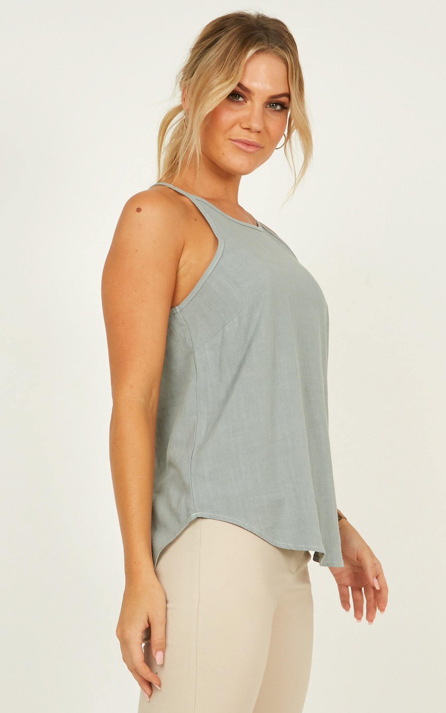 Work to put it right Top in sage linen look - 16 (XXL), Sage, hi-res image number null