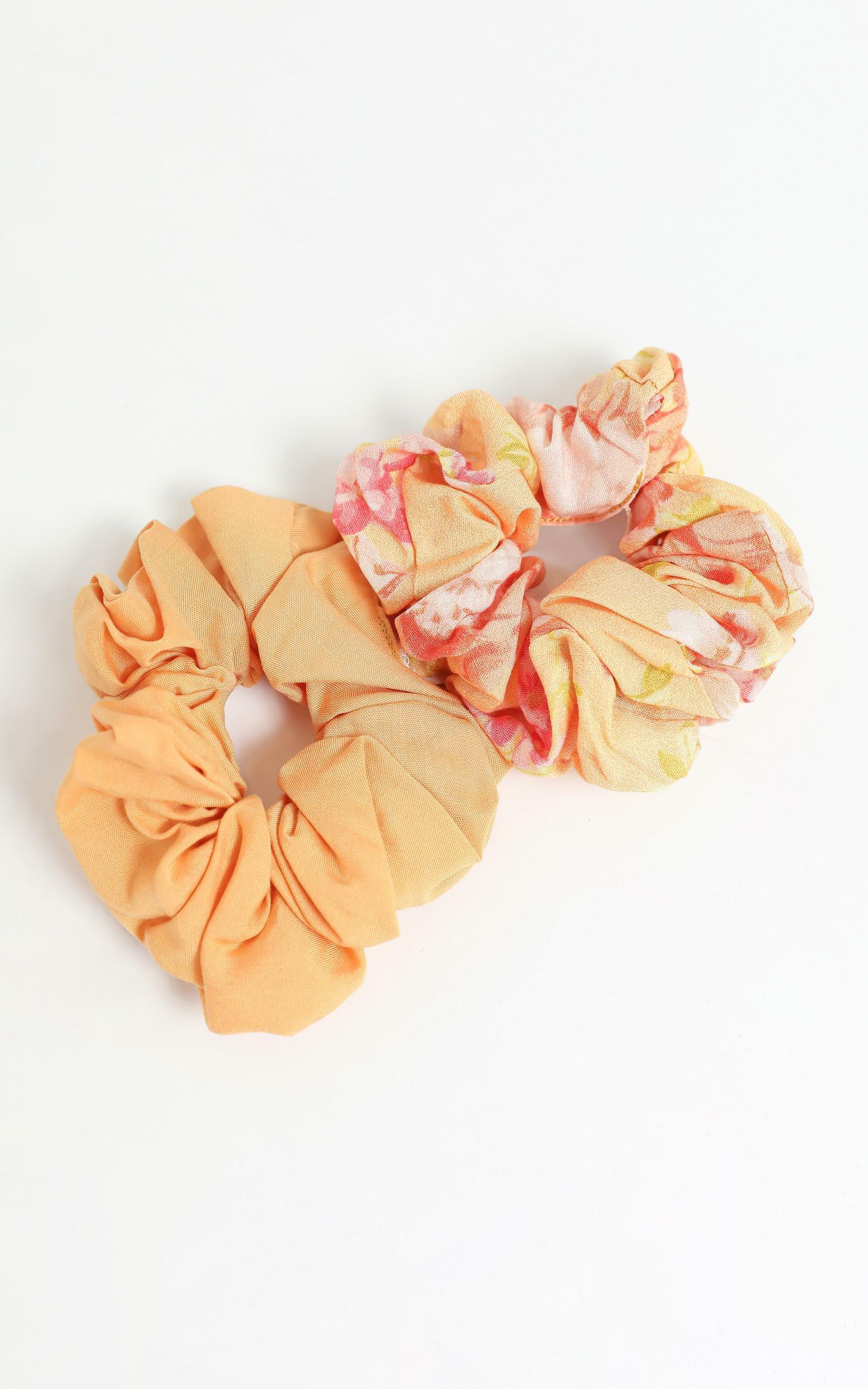 Tuscan Spring Scrunchie 2 Pack , Orange, hi-res image number null