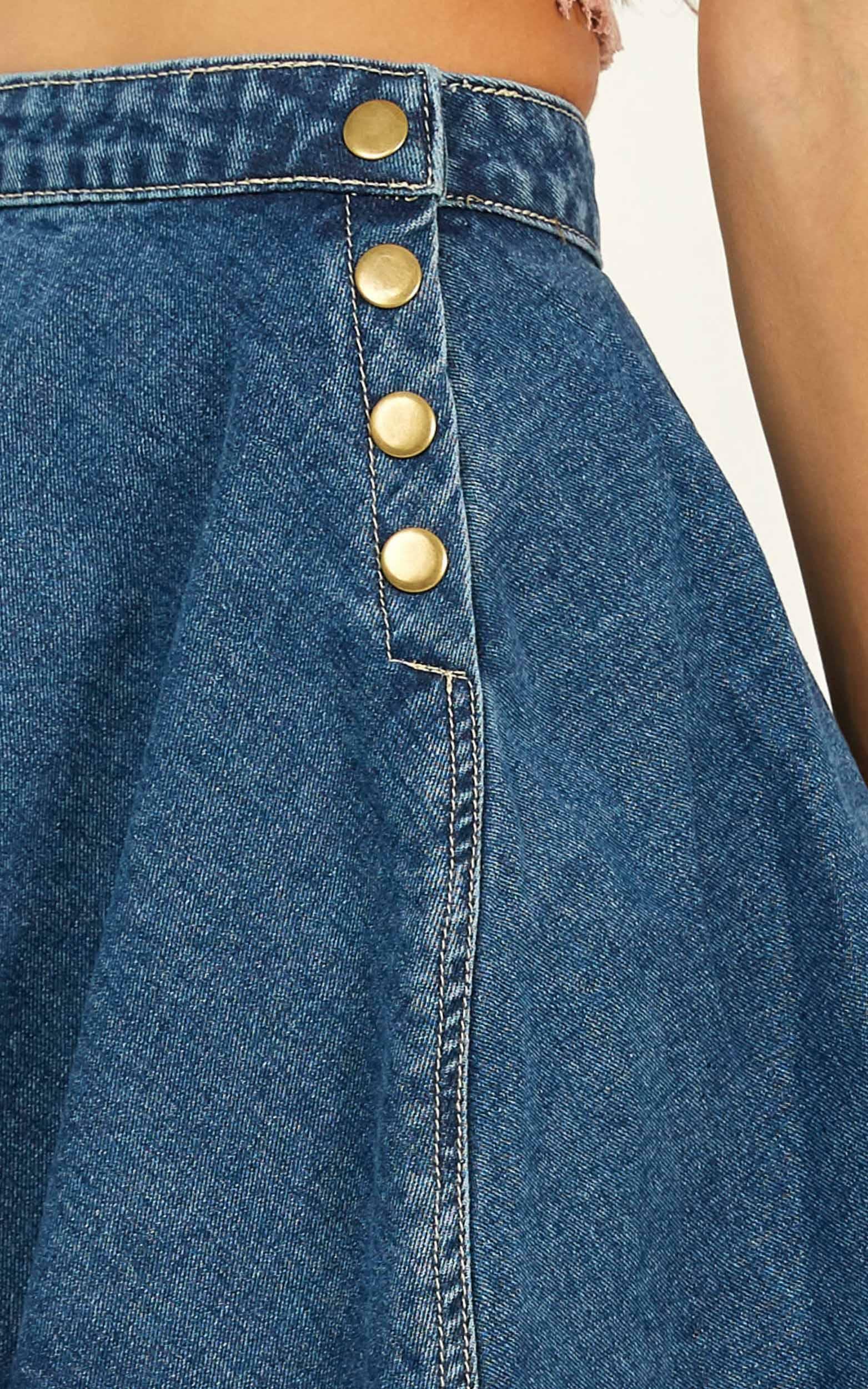 By The Campfire Denim Skirt In mid wash - 12 (L), Blue, hi-res image number null
