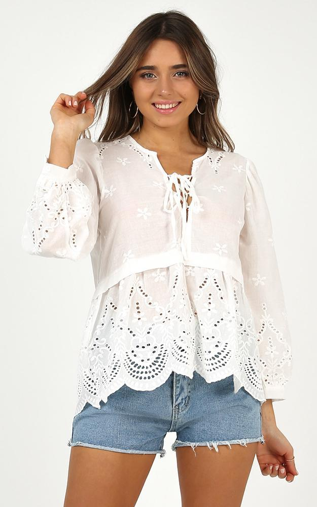 Unsent Letter Top in white eyelet, White, hi-res image number null