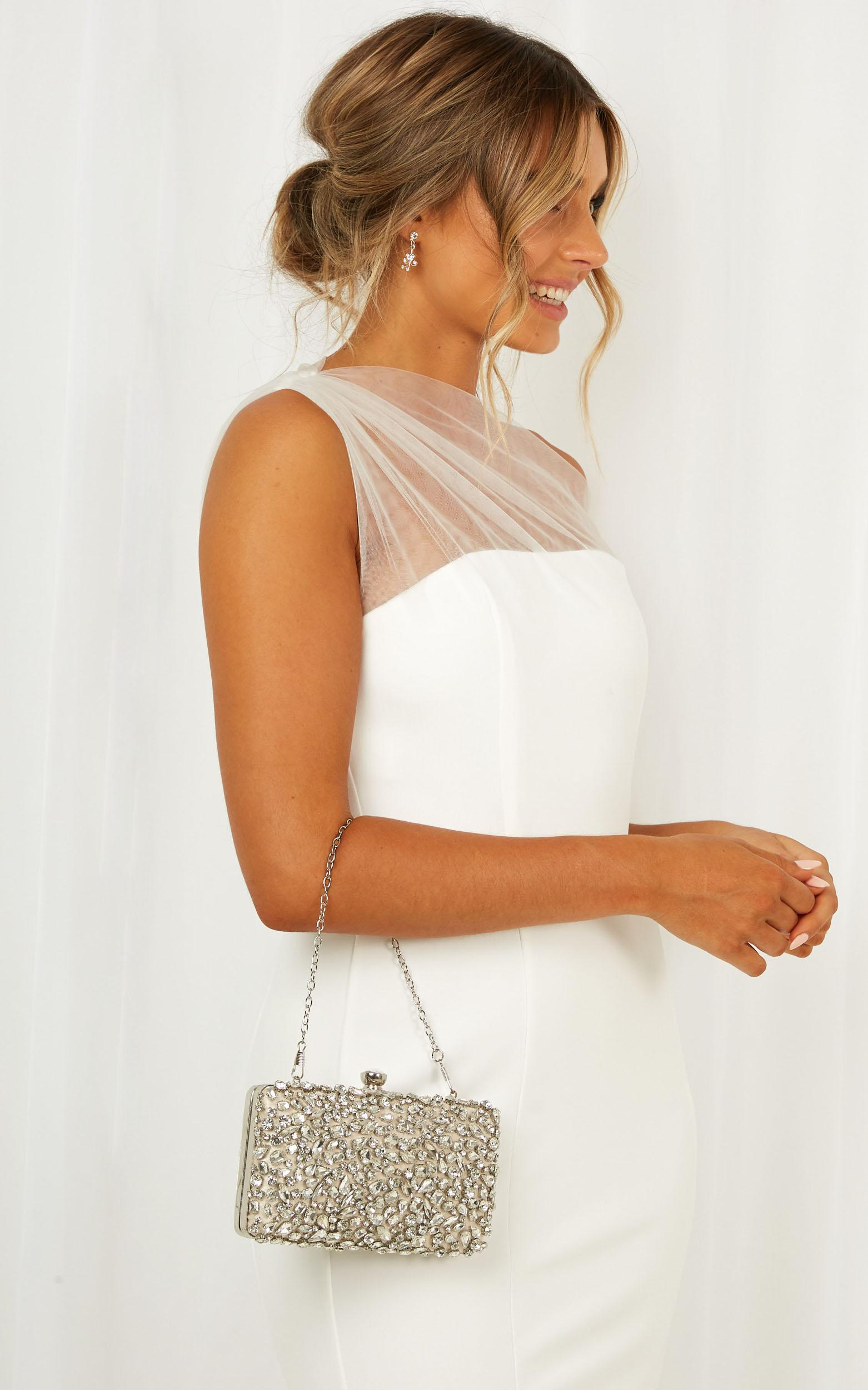 Never Ending Love Clutch In Silver, , hi-res image number null