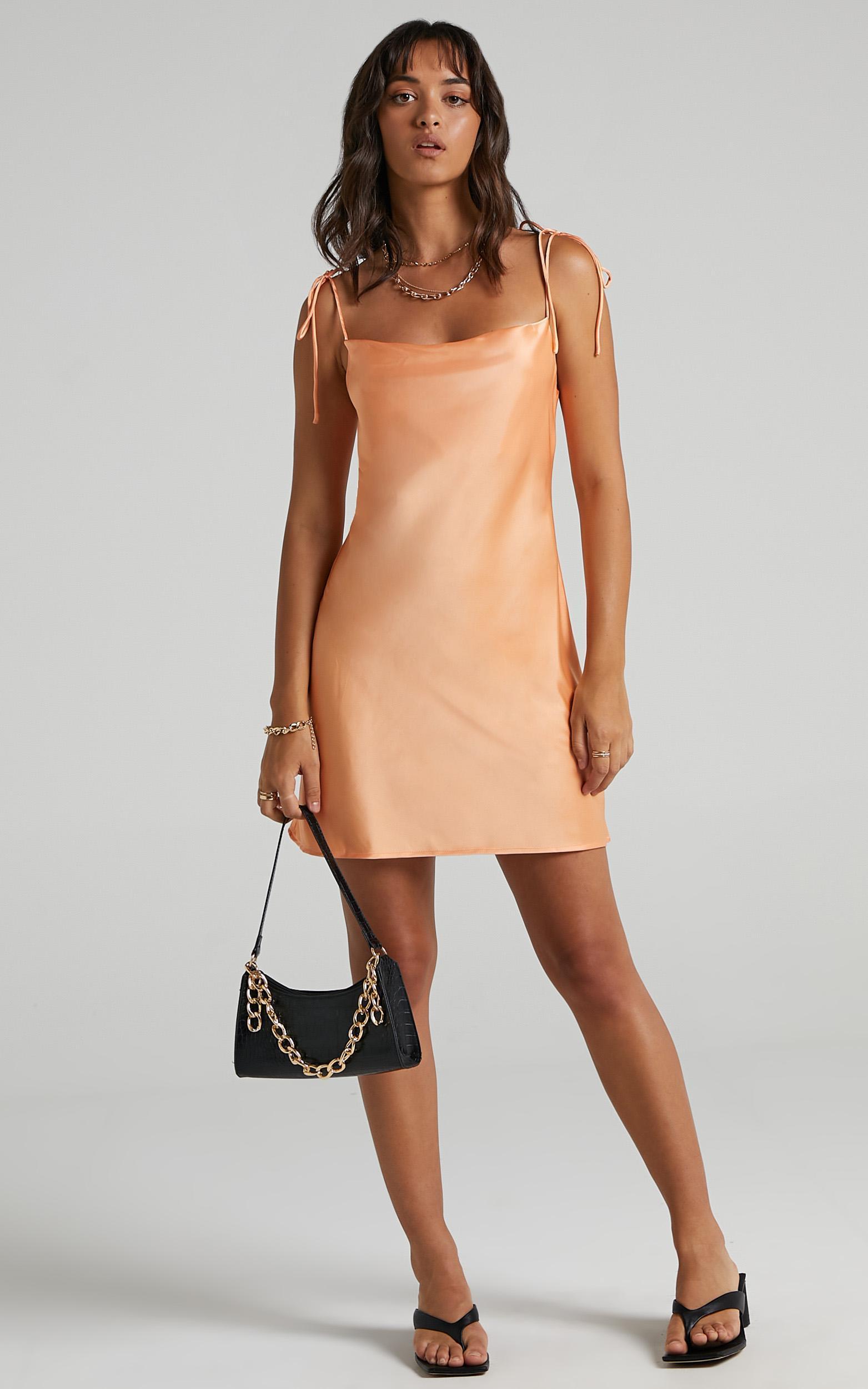 Tamisha Dress in Sherbet Satin - 6 (XS), Orange, hi-res image number null