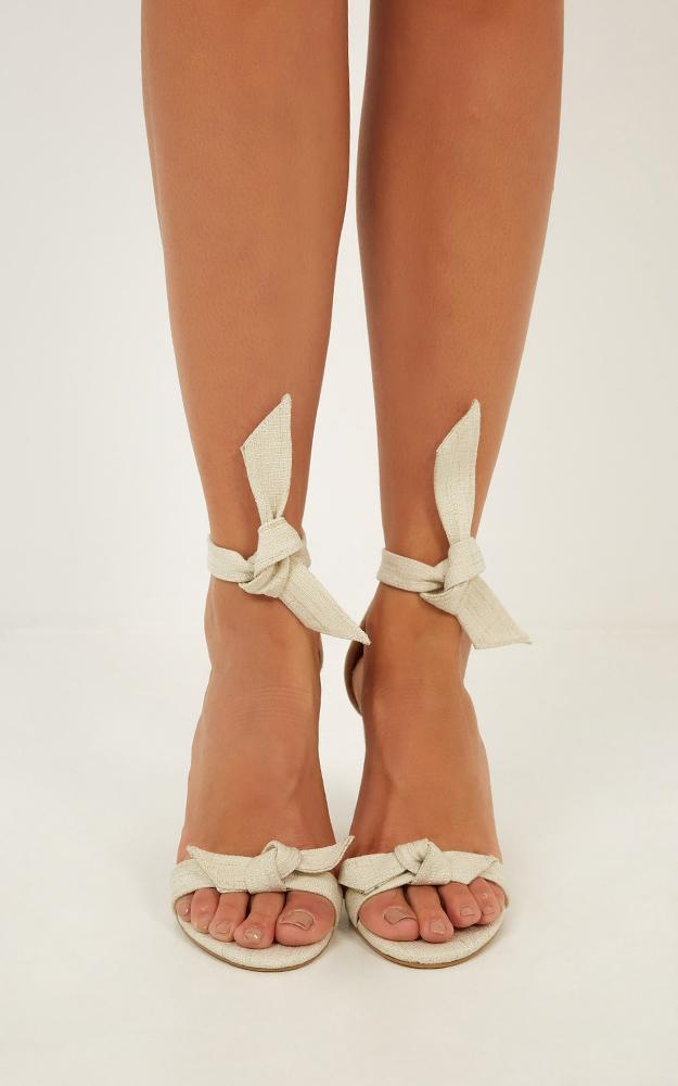 Billini - Goya heels in natural linen look - 5, White, hi-res image number null
