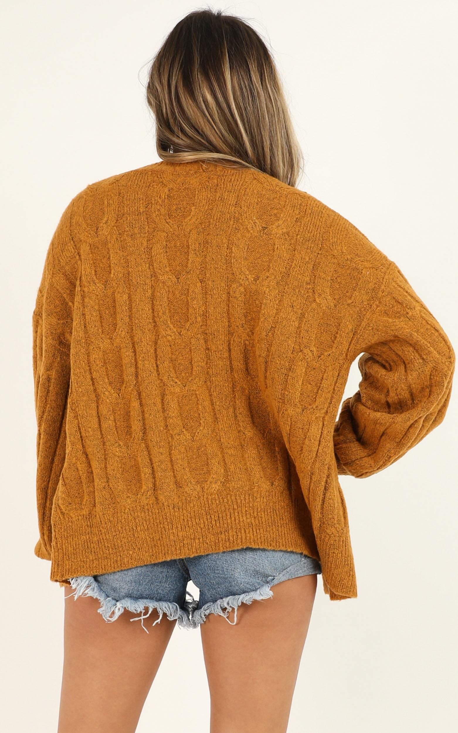 Could Tell knit cardigan in mustard - 12 (L), Mustard, hi-res image number null
