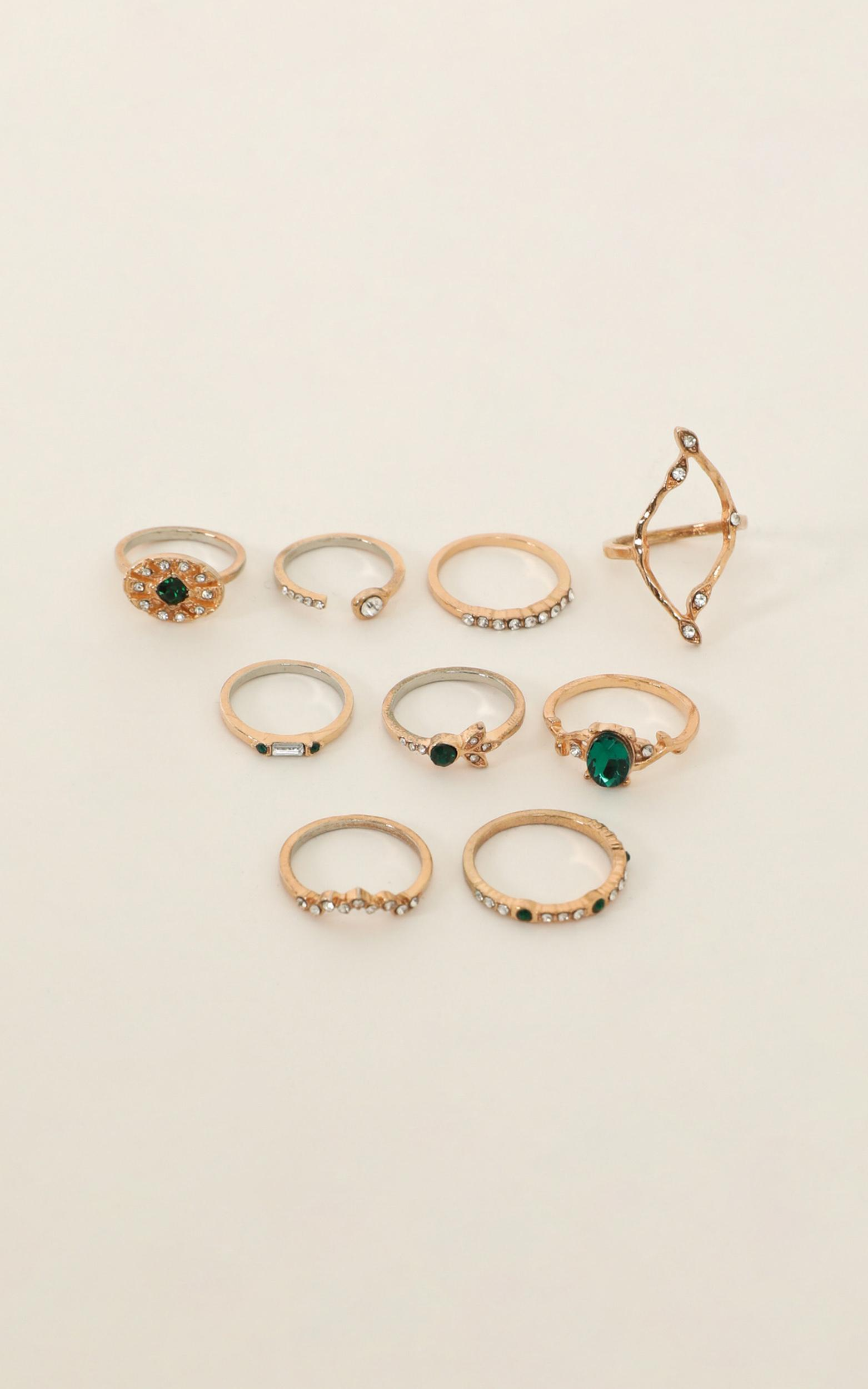 Waiting On The World Ring Set In Gold And Emerald, , hi-res image number null
