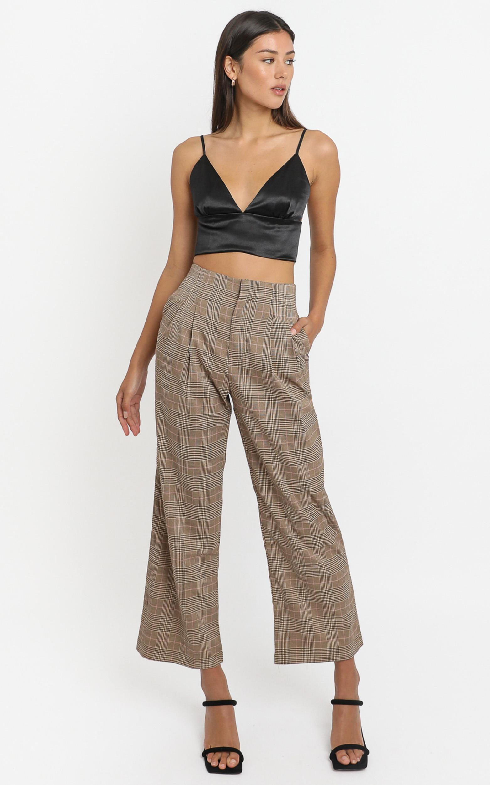 Kimmy Pants in Beige Check - 8 (S), Beige, hi-res image number null