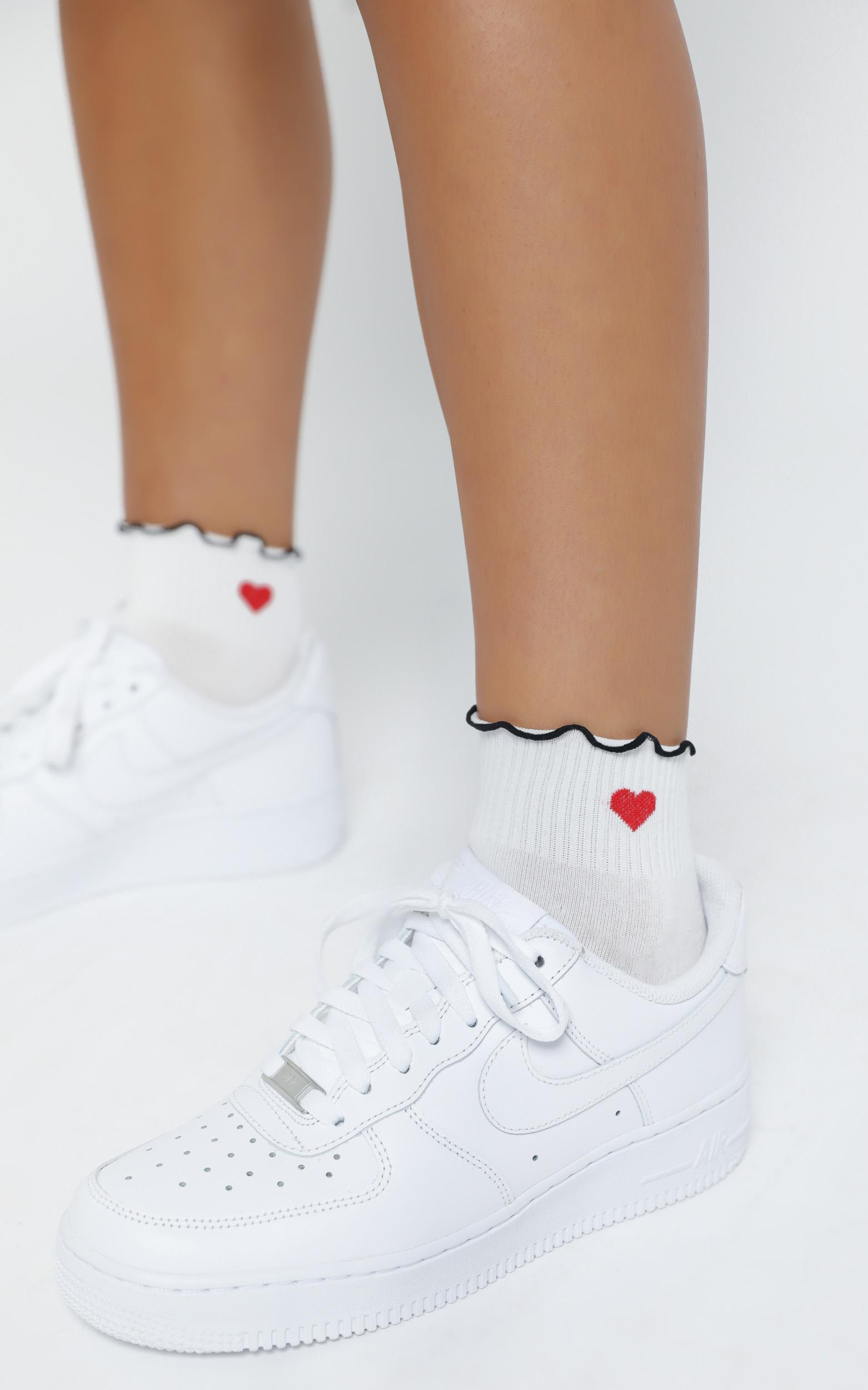 Come Along Heart Socks in White, , hi-res image number null