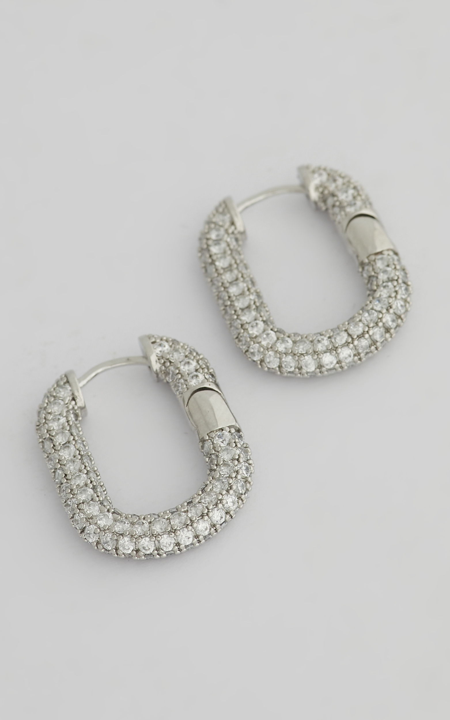 Luv AJ - XL Pave Chain Link Hoops in Silver - NoSize, SLV2, hi-res image number null