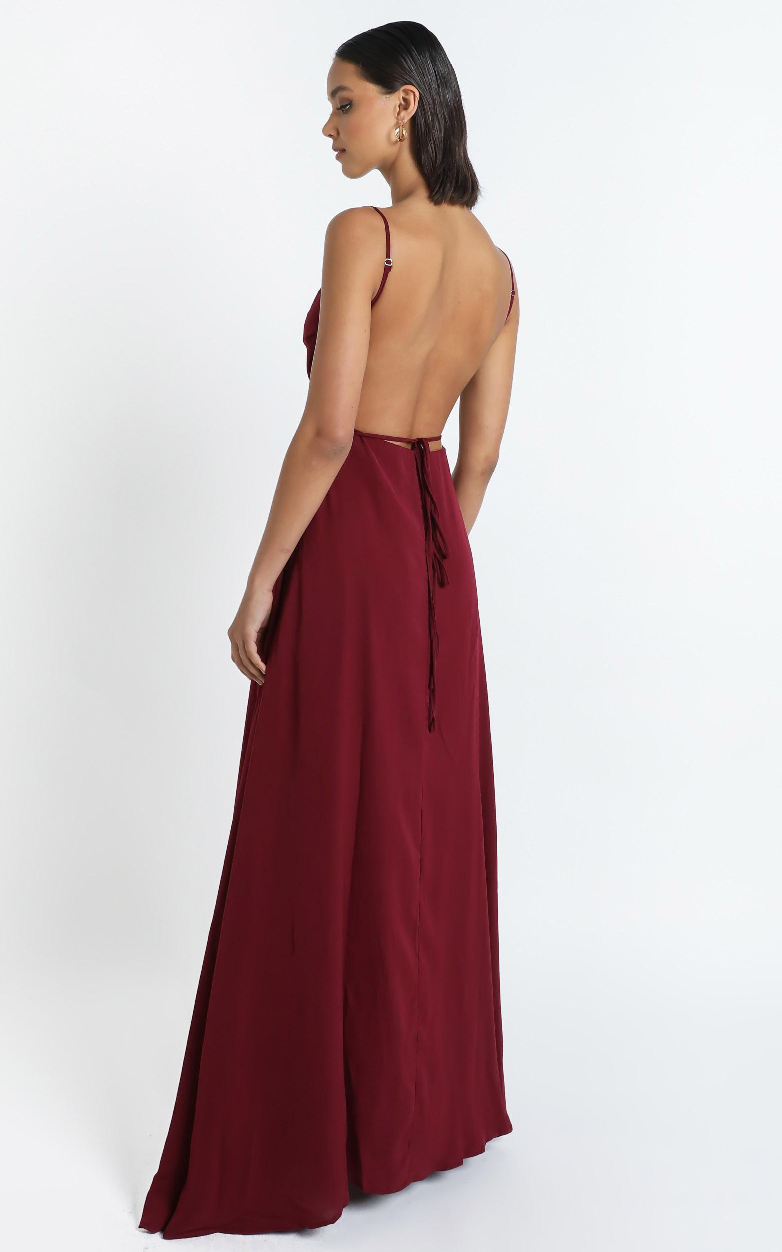 Starry eyes sparkling Dress In wine satin - 20 (XXXXL), Wine, hi-res image number null