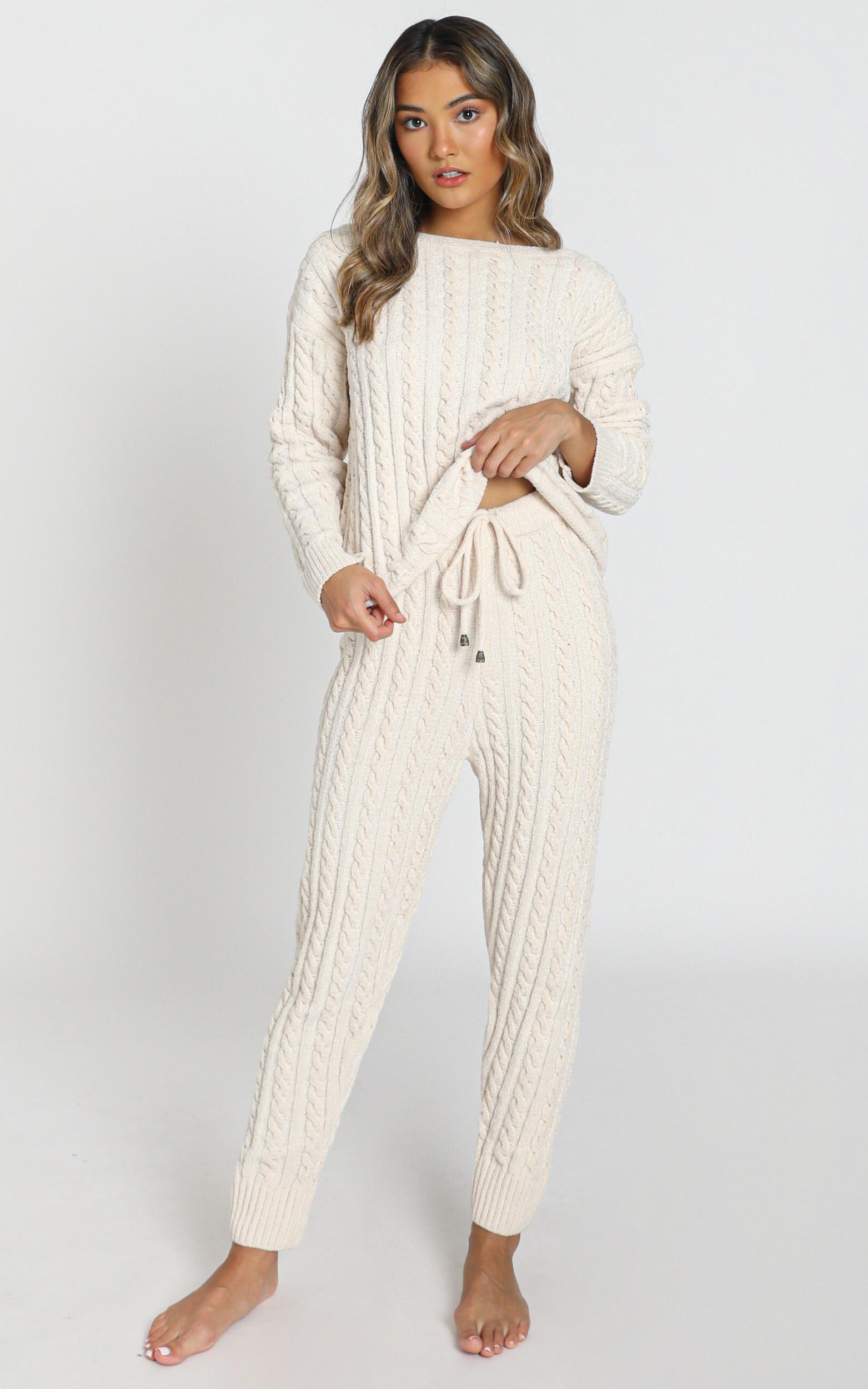 Iona Cable Knit Two Piece Set in cream - S, Cream, hi-res image number null