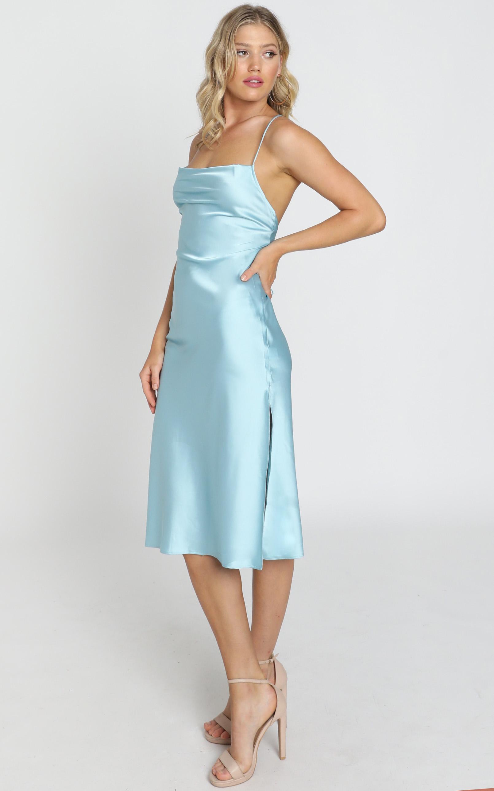 Tiggy Dress in sky satin - 12 (L), Blue, hi-res image number null